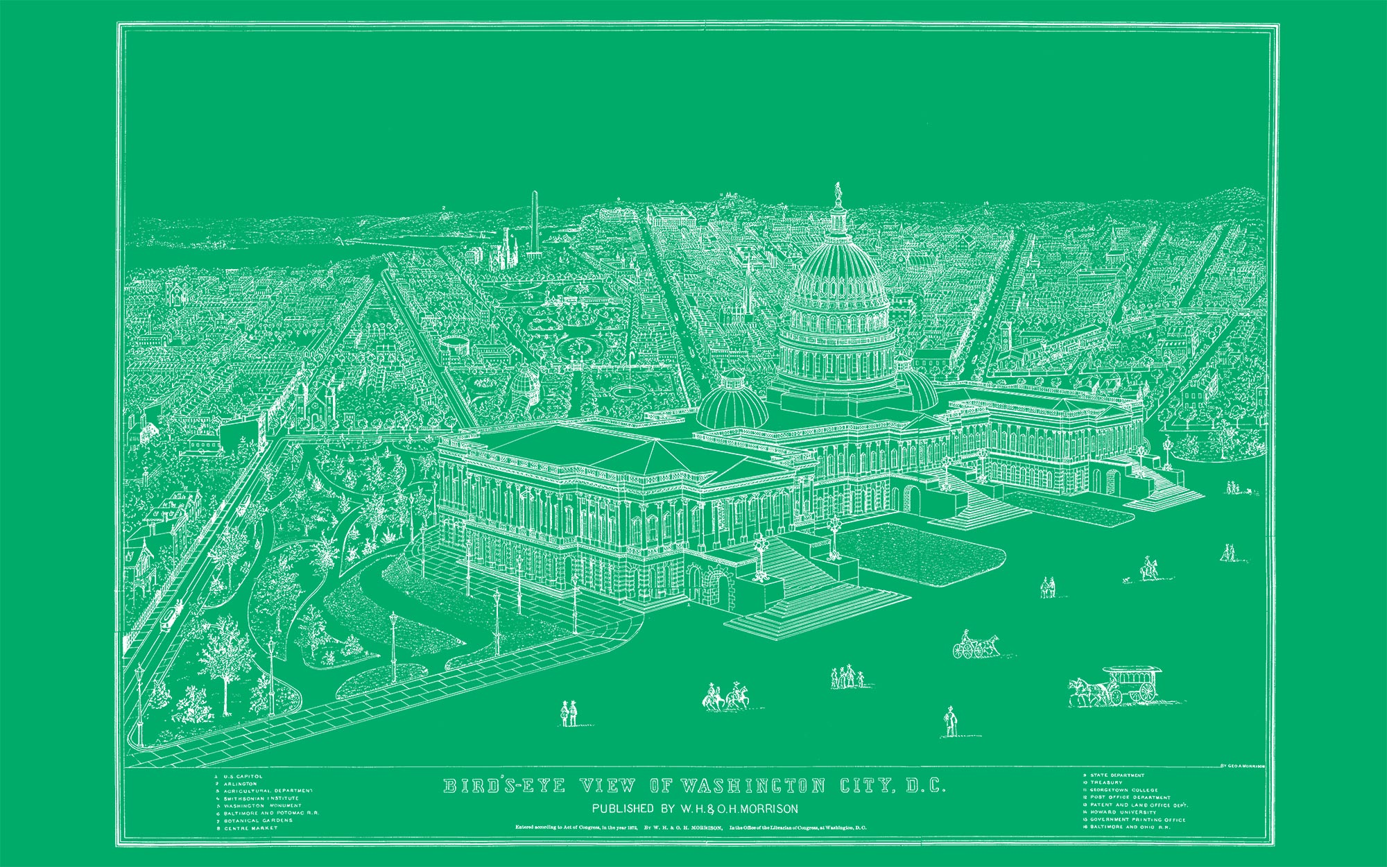 "US Capitol and DC (green canvas, 48"" x 30"")"
