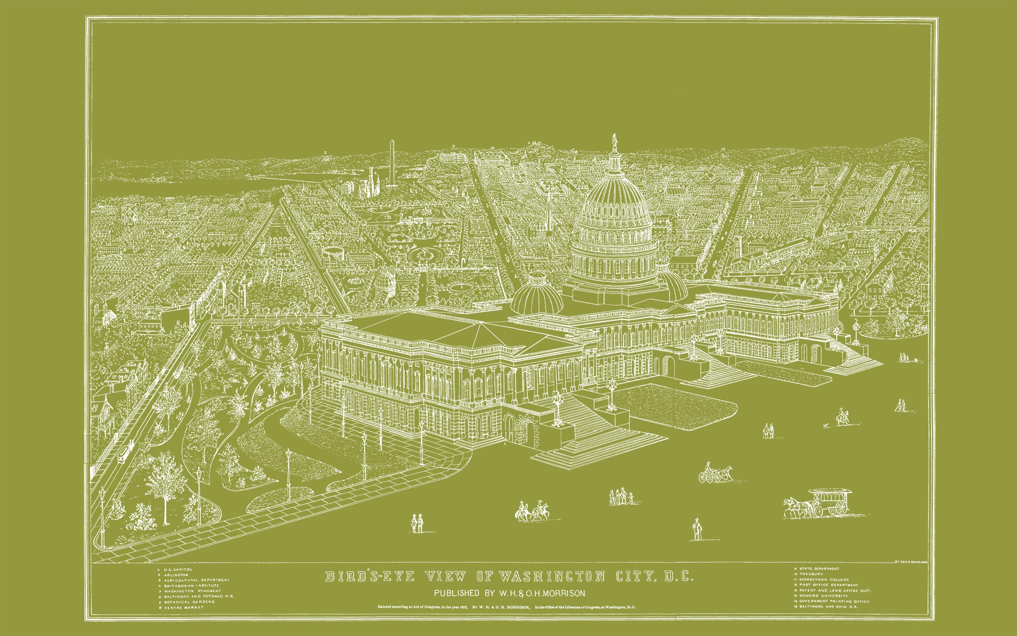 "US Capitol and DC (olive green canvas, 48"" x 30"")"