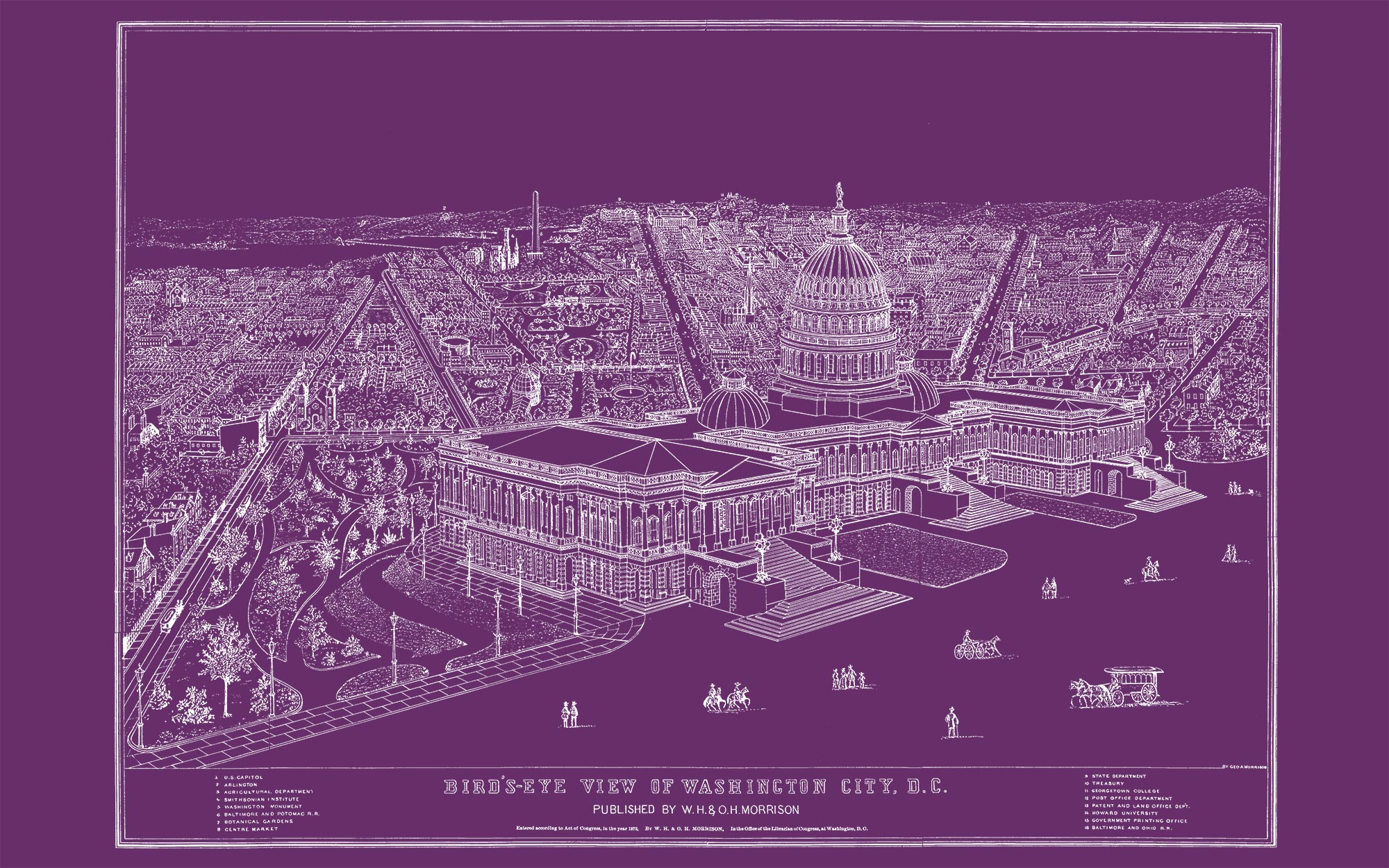 "US Capitol and DC (purple canvas, 48"" x 30"")"