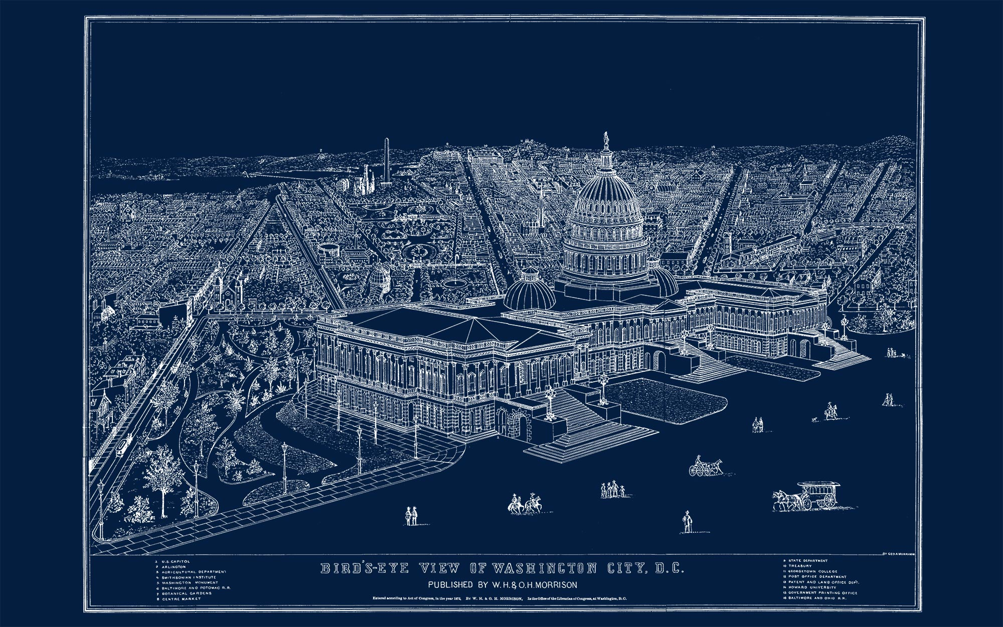 "US Capitol and DC (navy canvas, 48"" x 30"")"