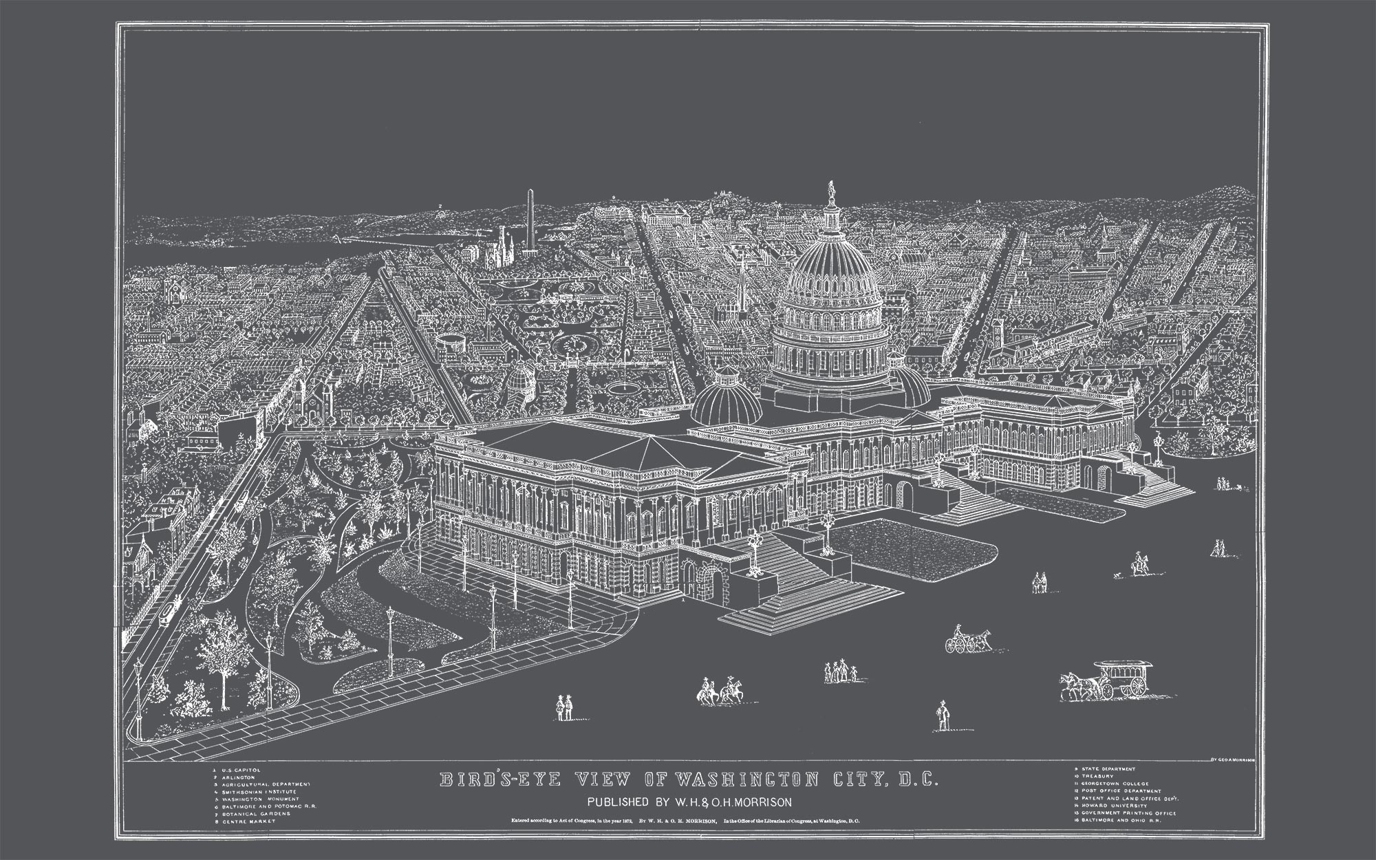 """US Capitol and DC (charcoal gray canvas, 48"""" x 30"""")"""