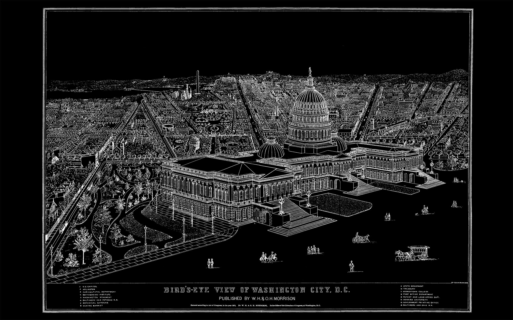"US Capitol and DC (black canvas, 48"" x 30"")"