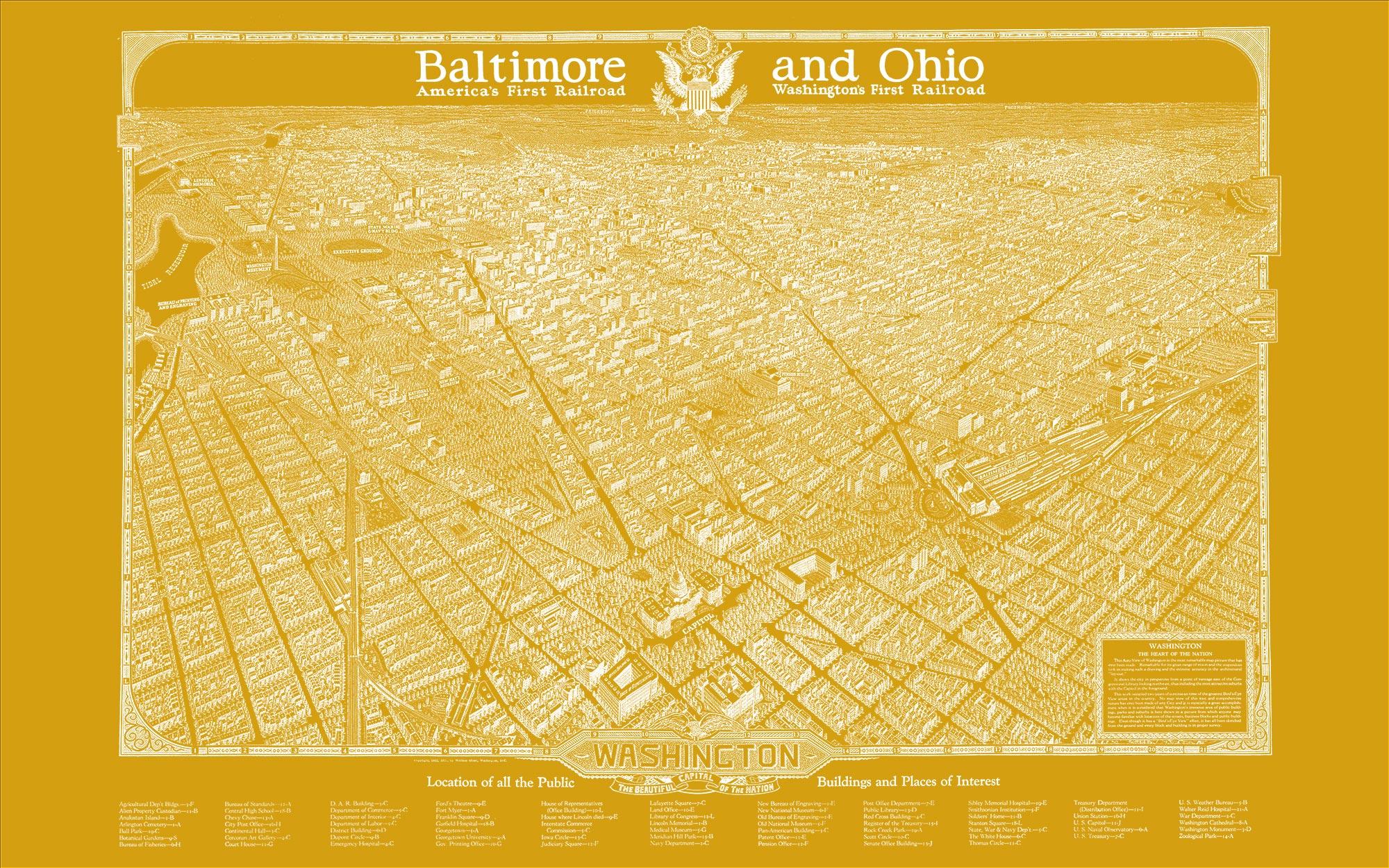 "Washington DC 1923 (yellow canvas, 48"" x 30"")"
