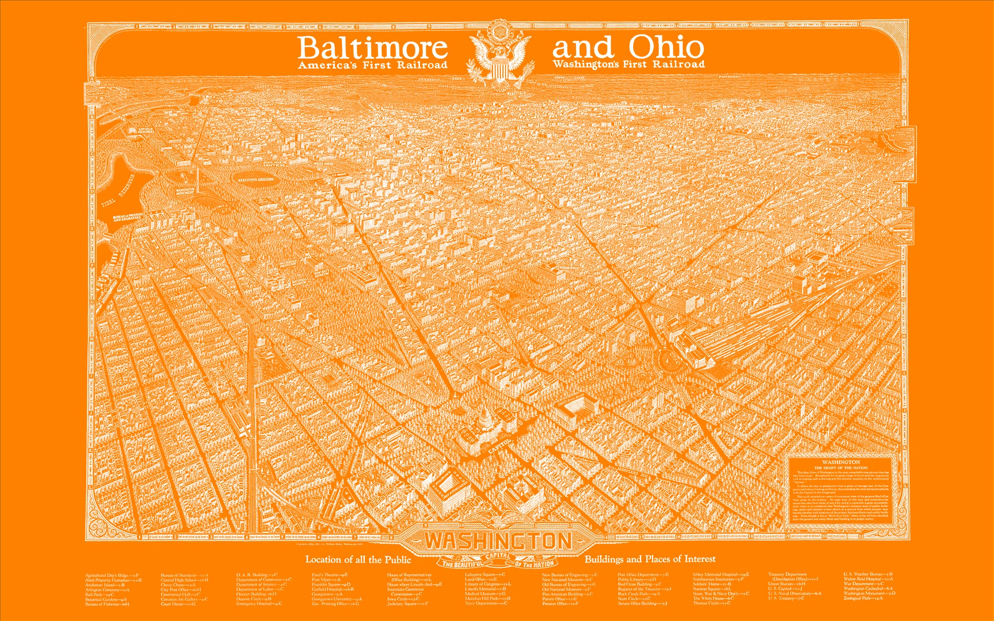 "Washington DC 1923 (orange canvas, 48"" x 30"")"