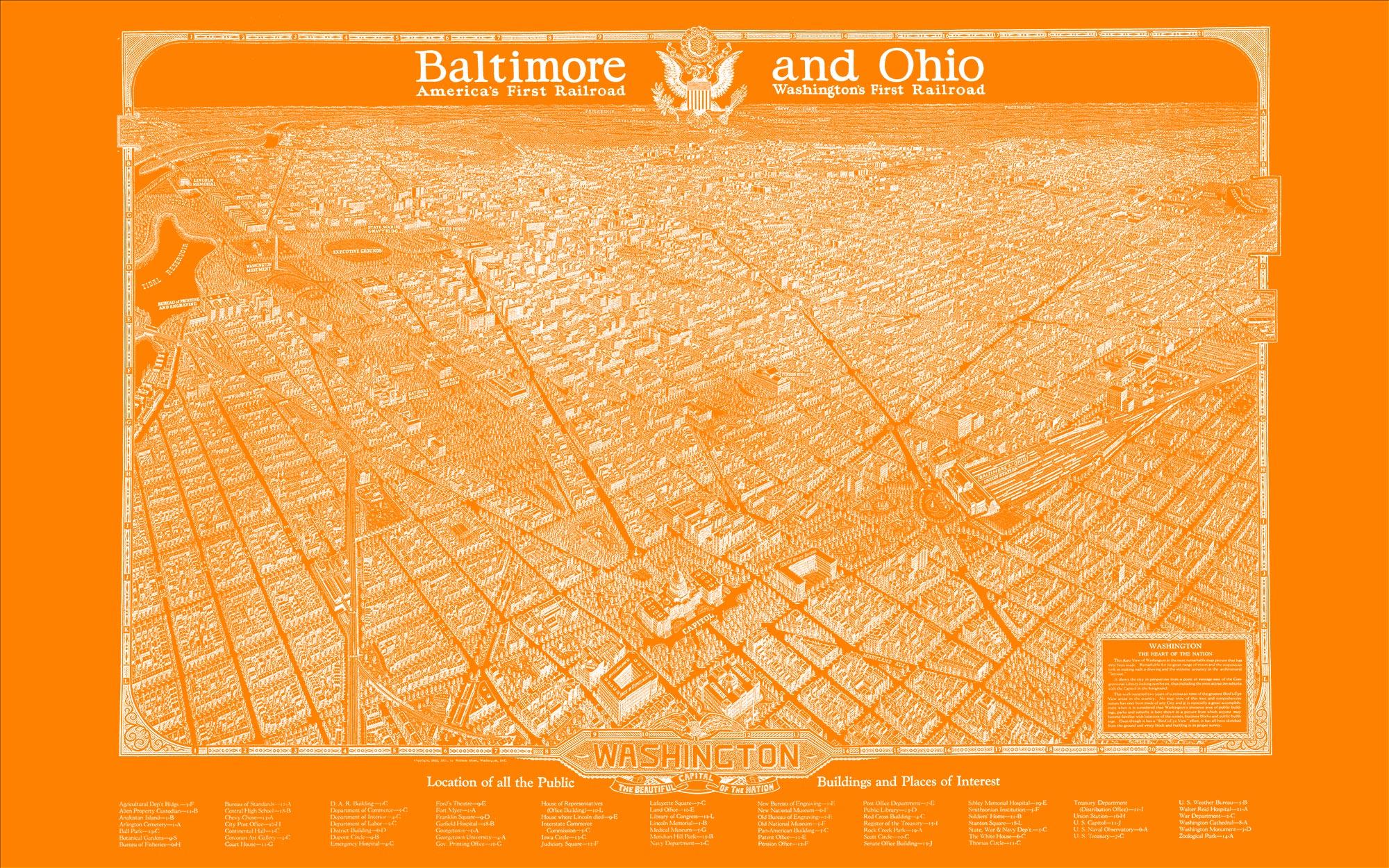 "Washington DC 1923 (orange canvas, 48"" x 30"")"