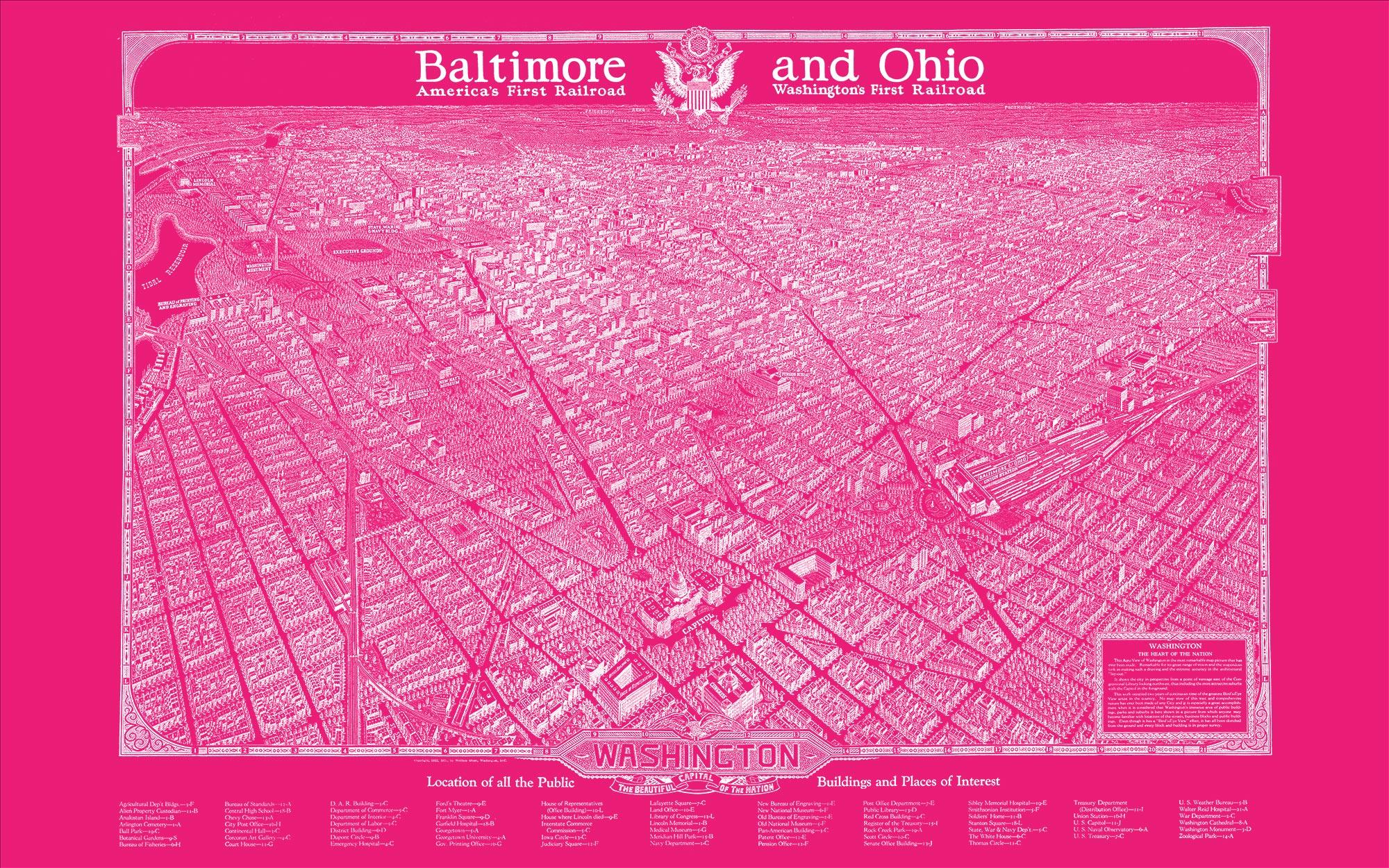 "Washington DC 1923 (pink canvas, 48"" x 30"")"