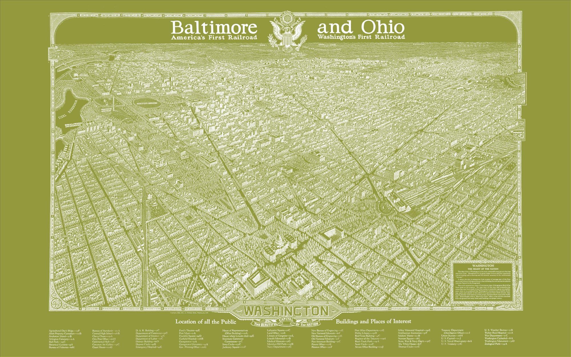 "Washington DC 1923 (olive green canvas, 48"" x 30"")"