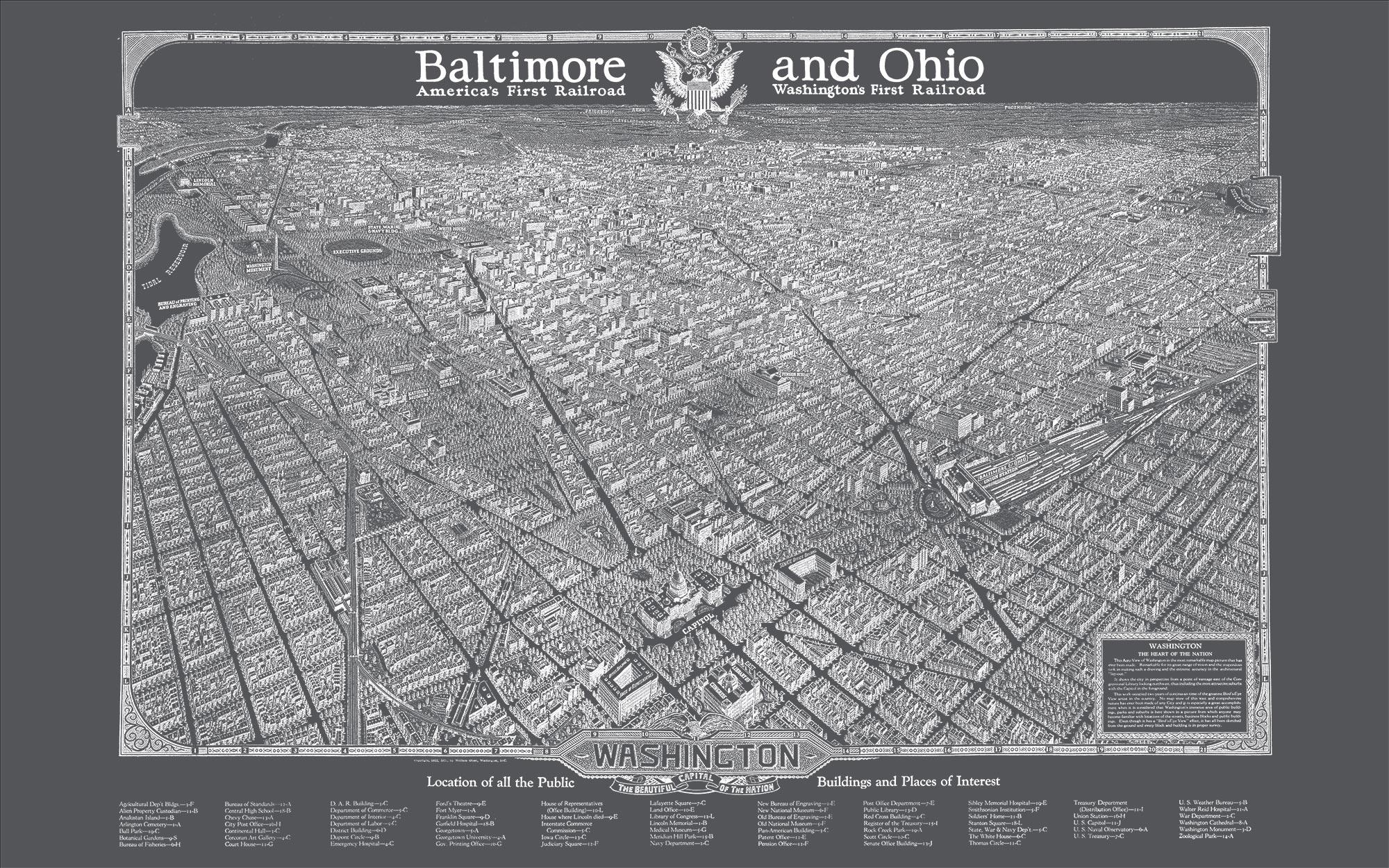 "Washington DC 1923 (charcoal gray canvas, 48"" x 30"")"