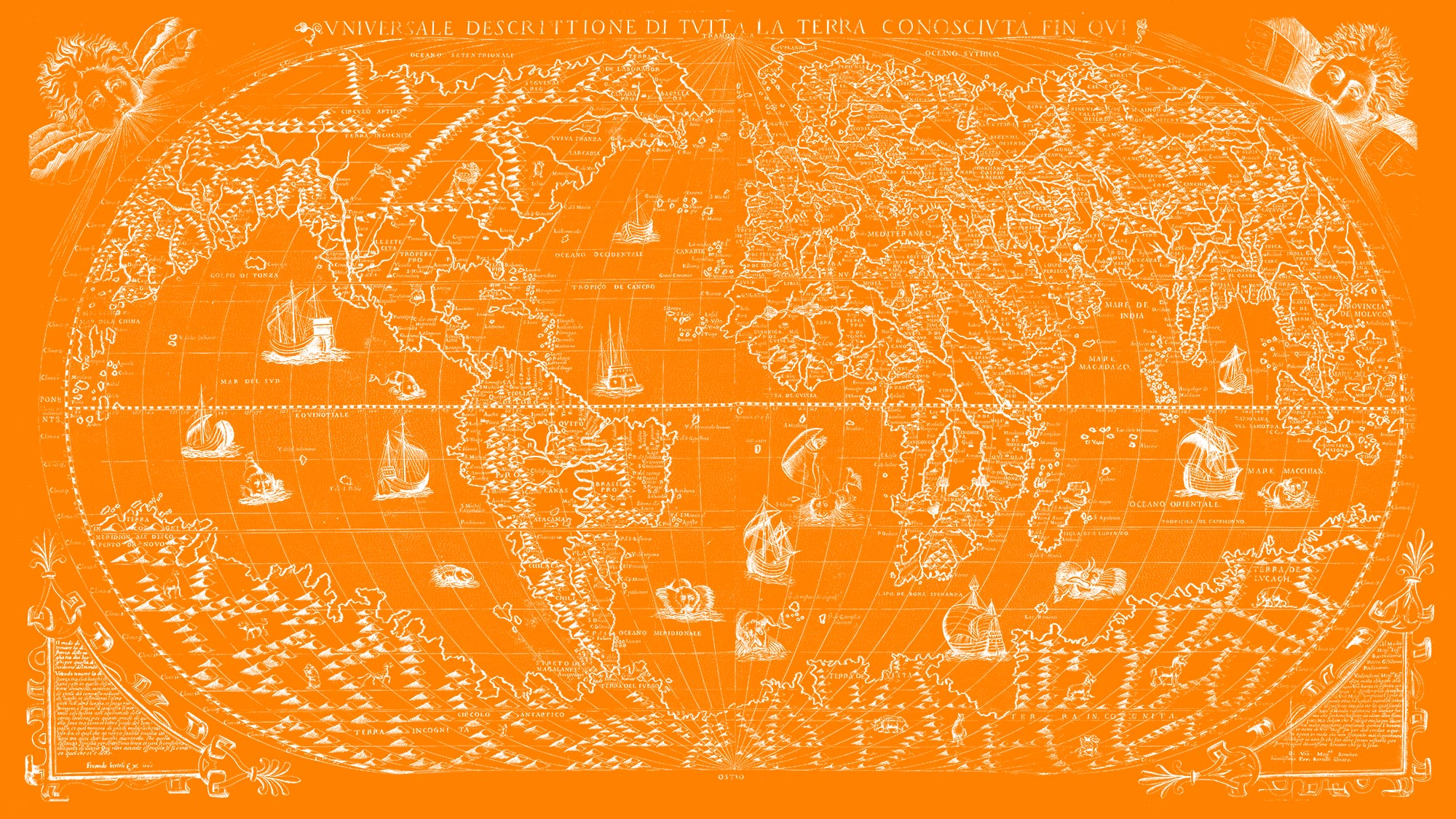 "The Known World 1565 (orange canvas, 64"" x 36"")"
