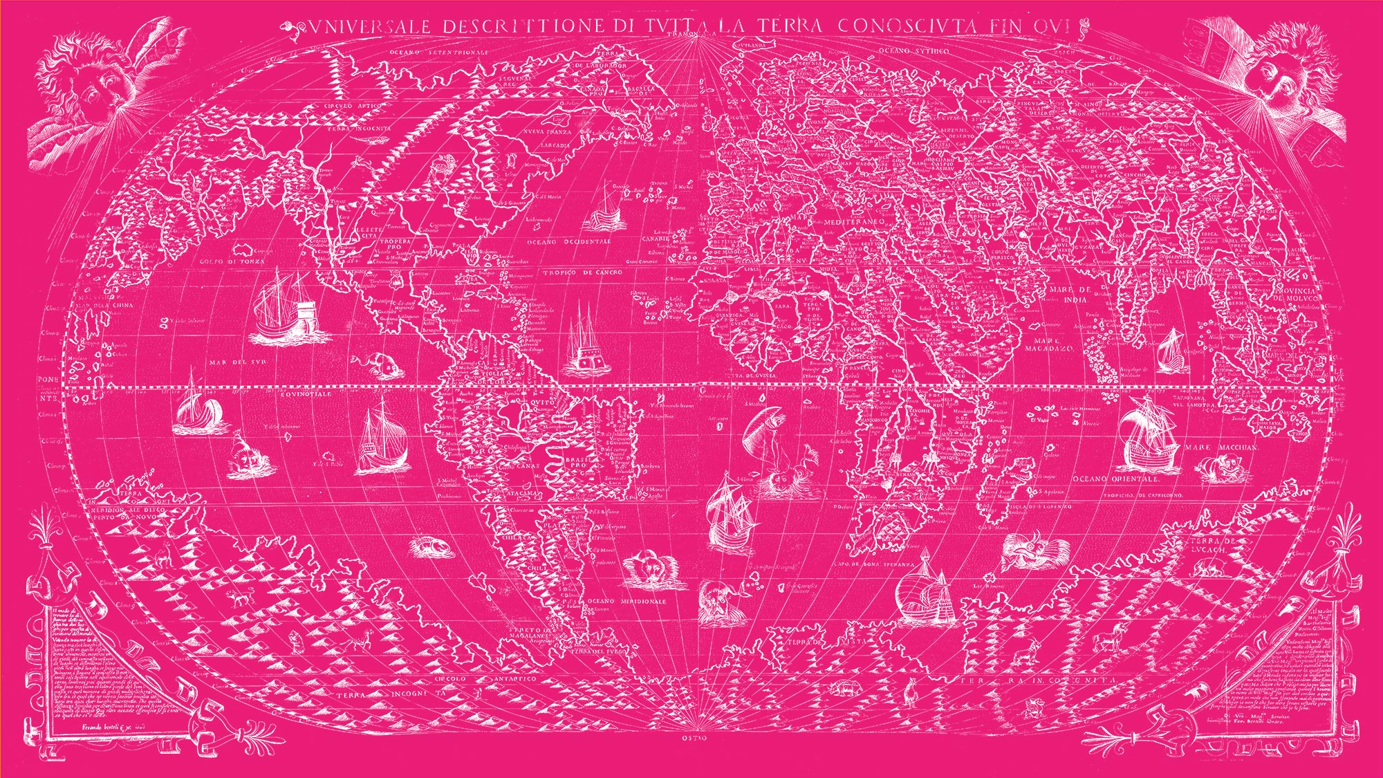"The Known World 1565 (pink canvas, 64"" x 36"")"