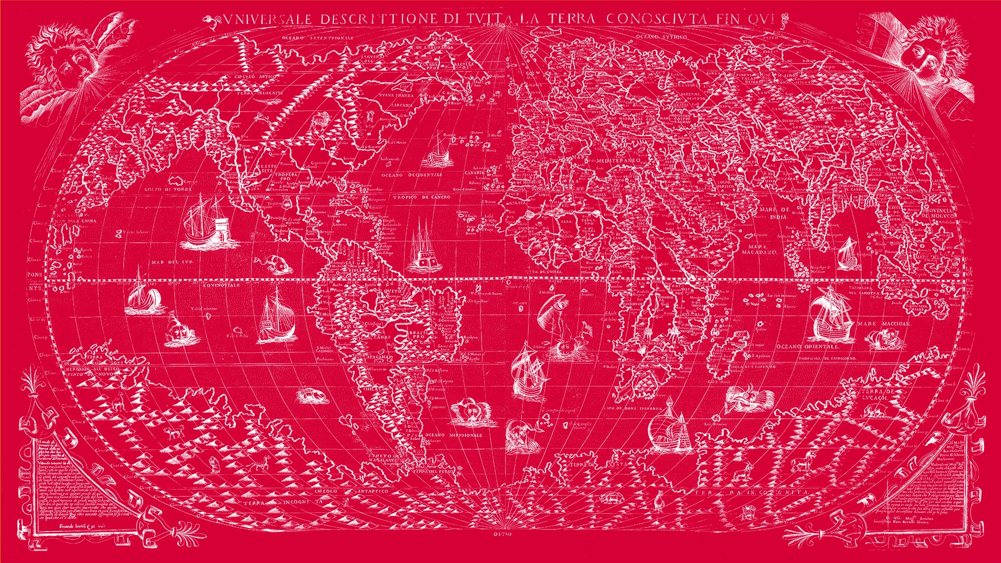 "The Known World 1565 (red canvas, 64"" x 36"")"