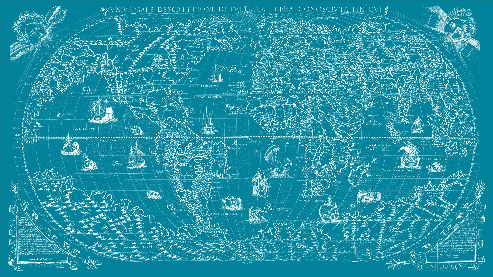 "The Known World 1565 (teal canvas, 64"" x 36"")"