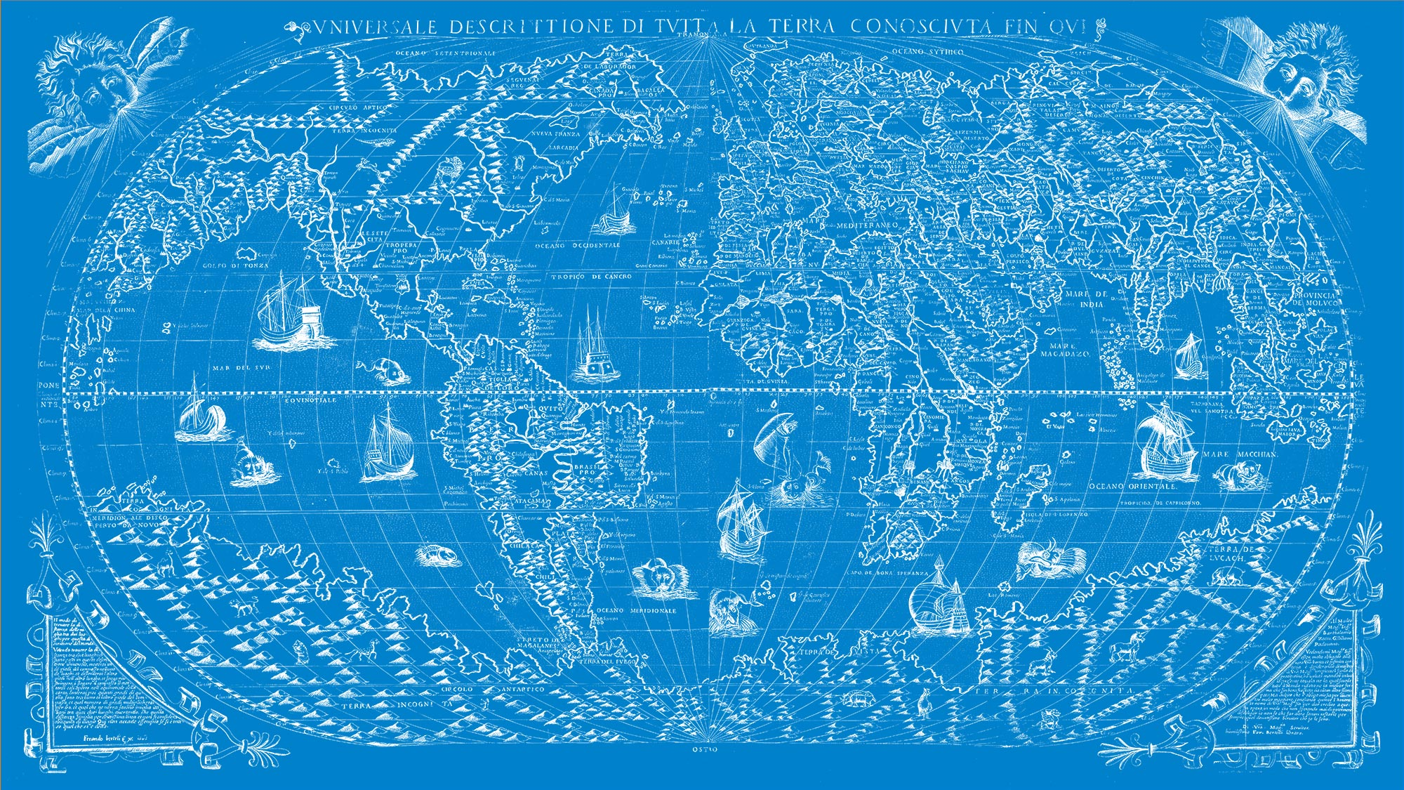 "The Known World 1565 (blue canvas, 64"" x 36"")"