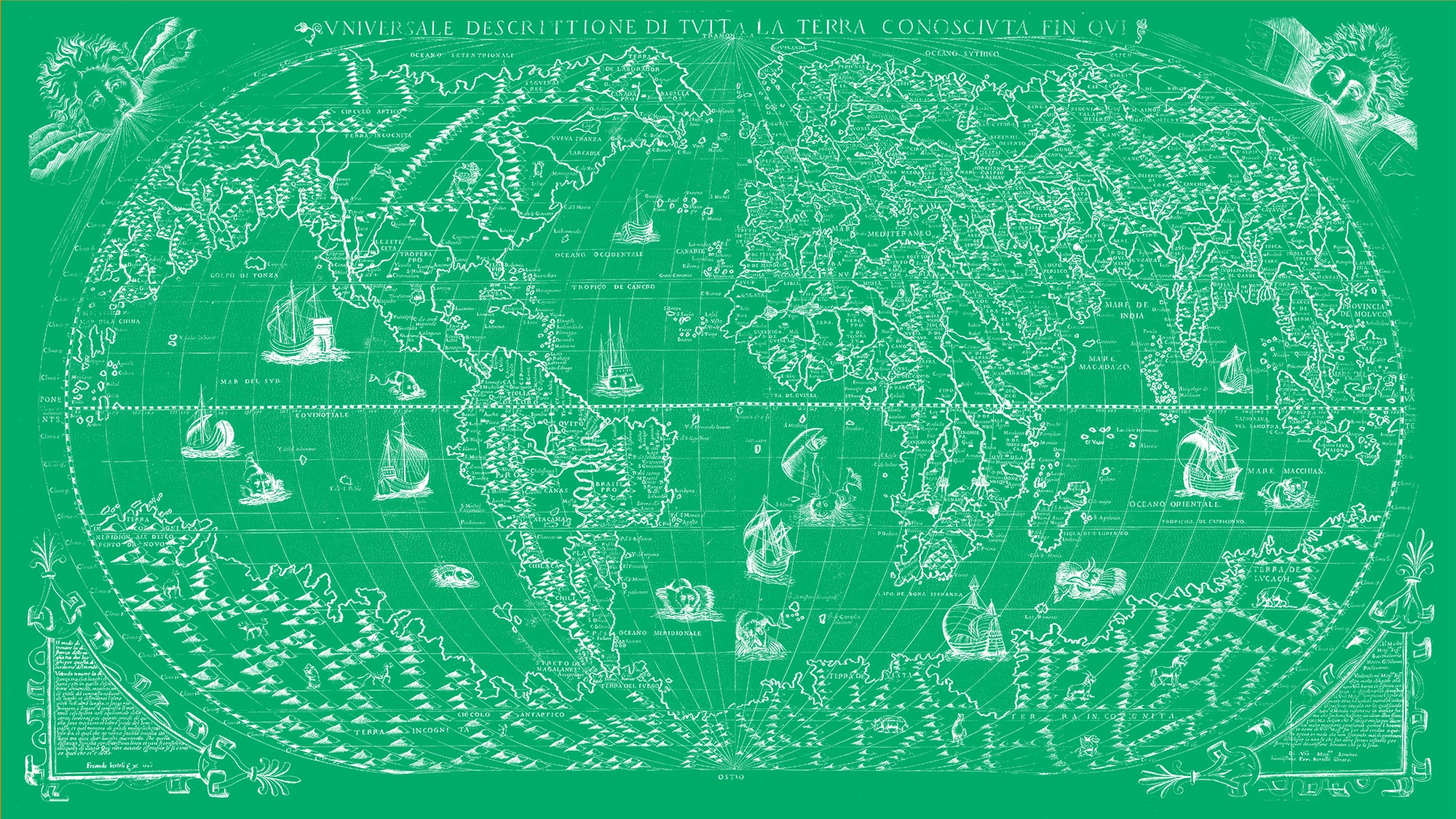 "The Known World 1565 (green canvas, 64"" x 36"")"