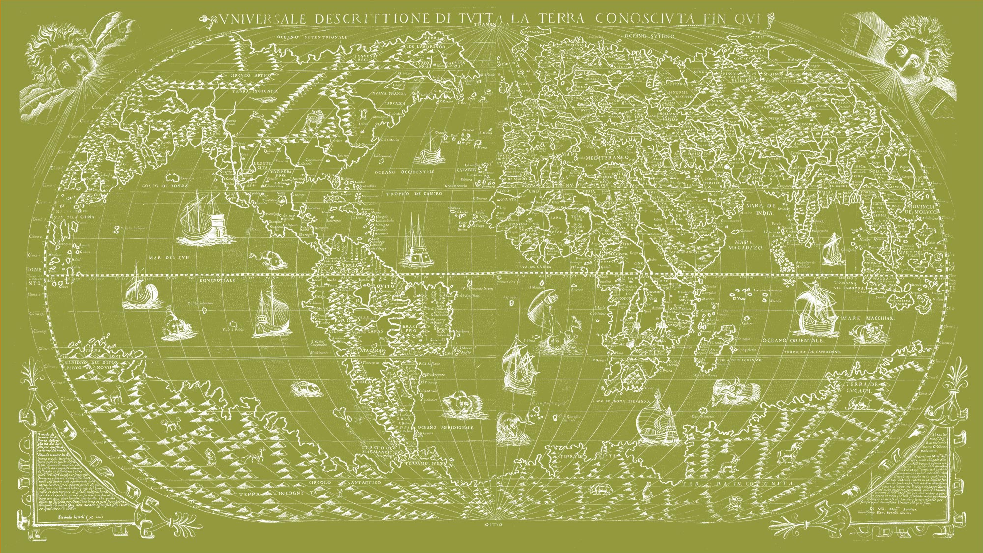 "The Known World 1565 (olive green canvas, 64"" x 36"")"