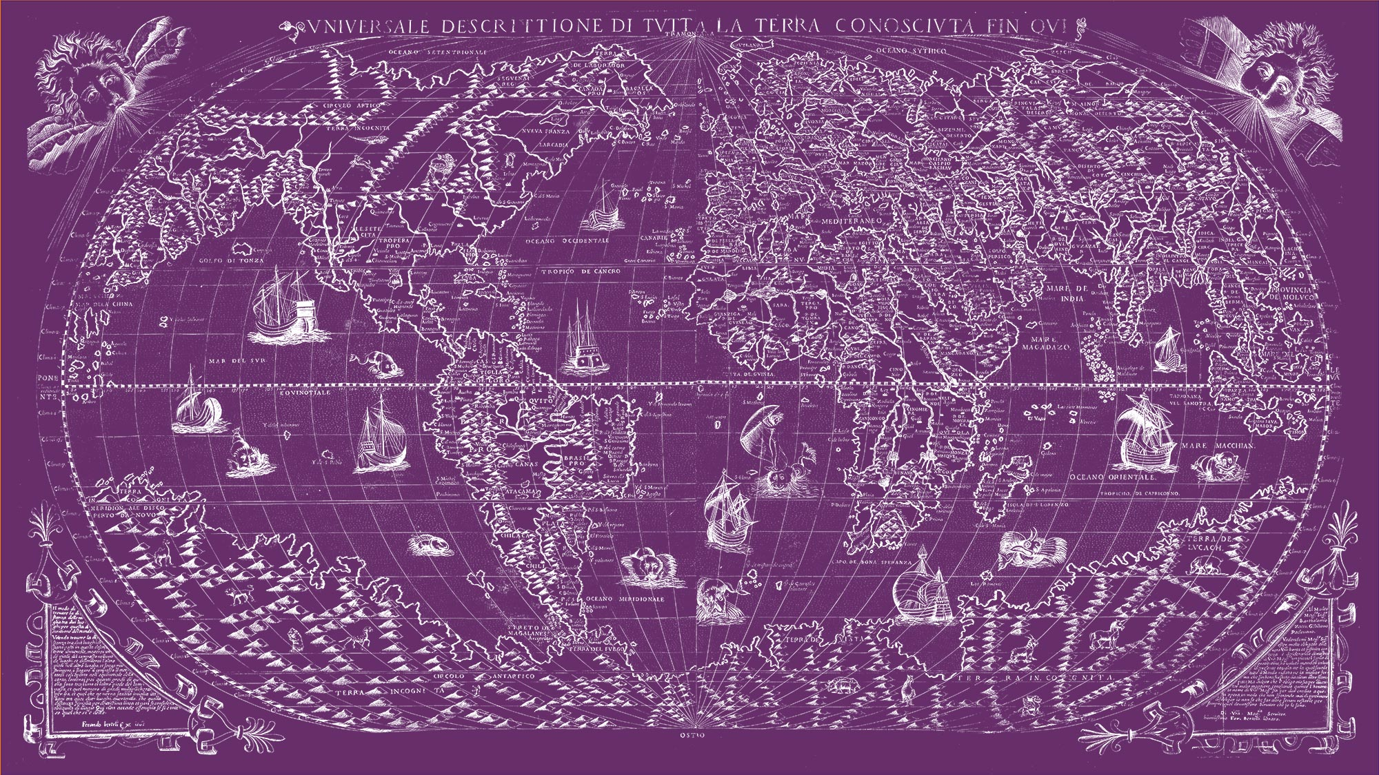 "The Known World 1565 (purple canvas, 64"" x 36"")"
