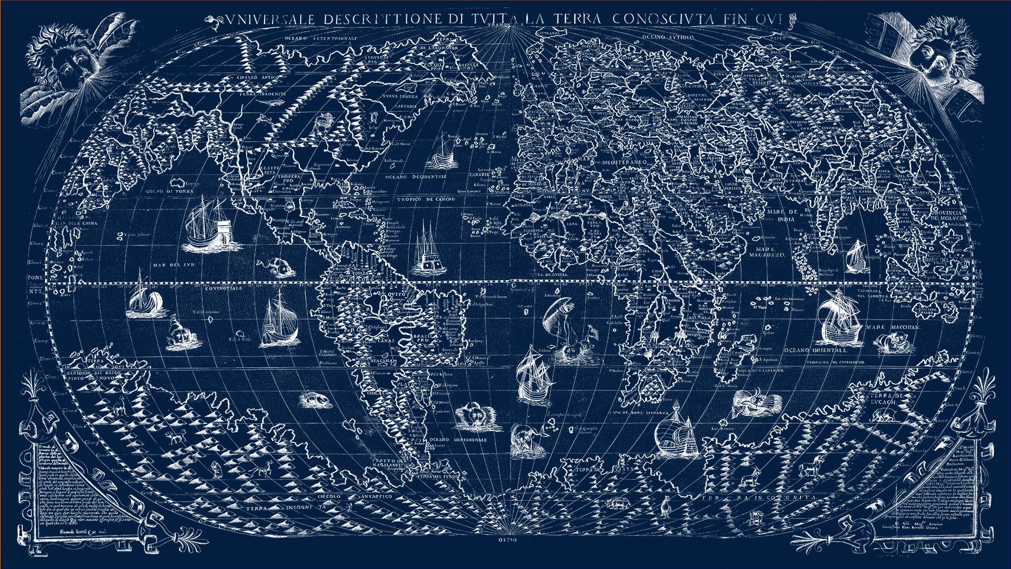 "The Known World 1565 (navy canvas, 64"" x 36"")"