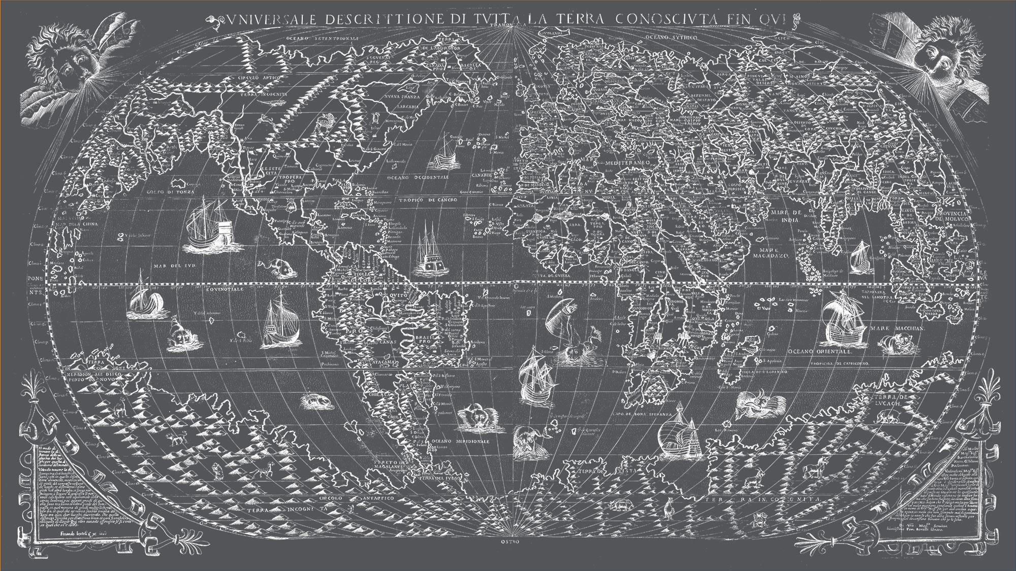 "The Known World 1565 (charcoal gray canvas, 64"" x 36"")"