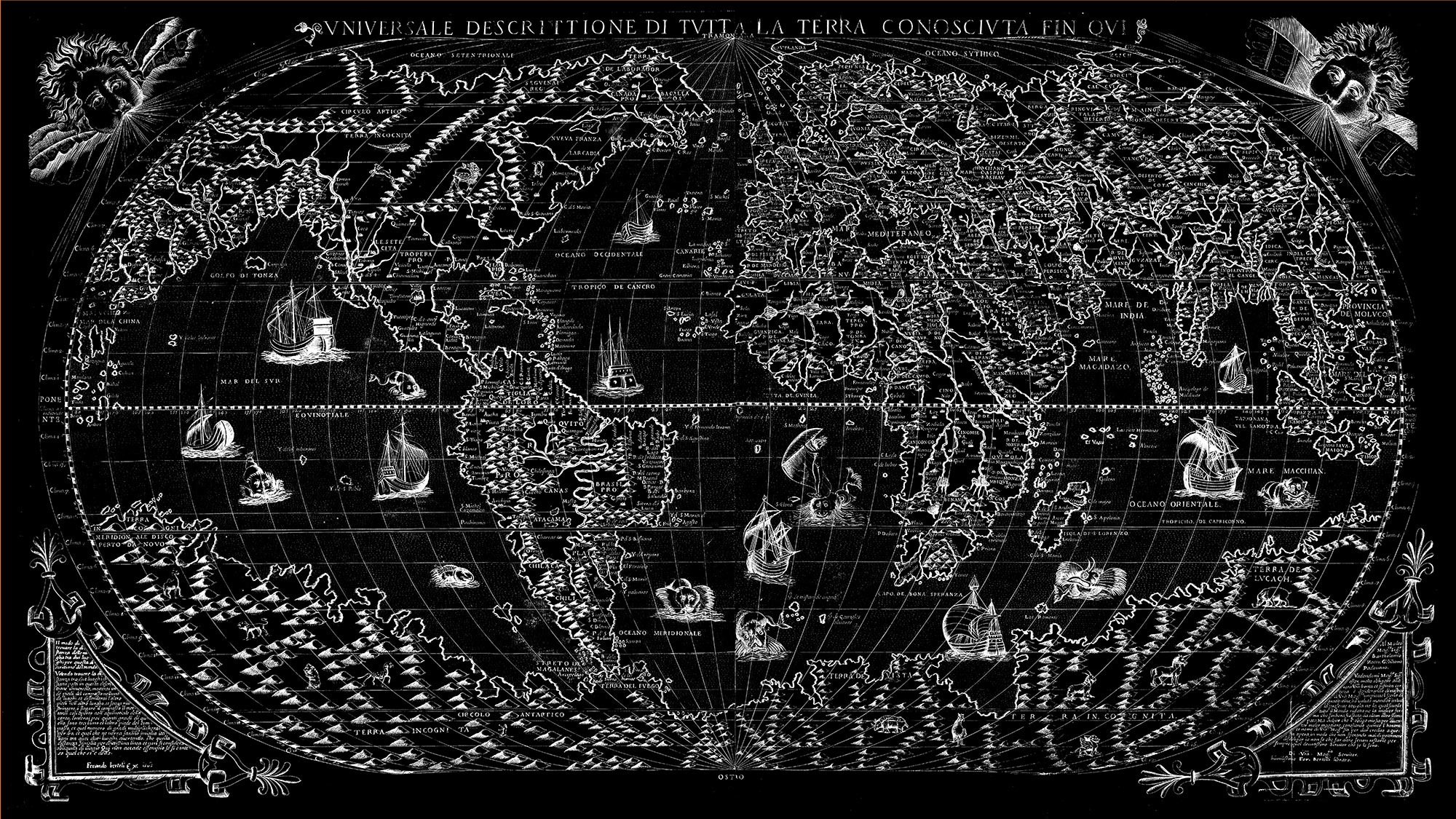 "The Known World 1565 (black canvas, 64"" x 36"")"