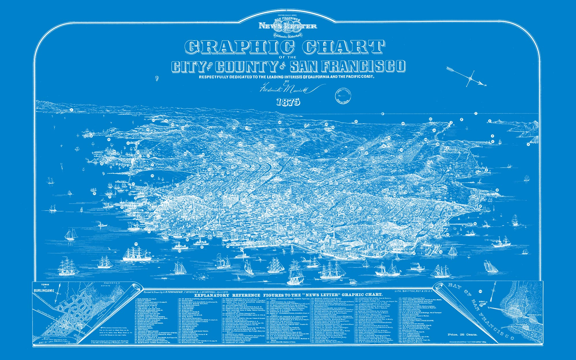 "San Francisco 1875 (blue canvas, 48"" x 30"")"