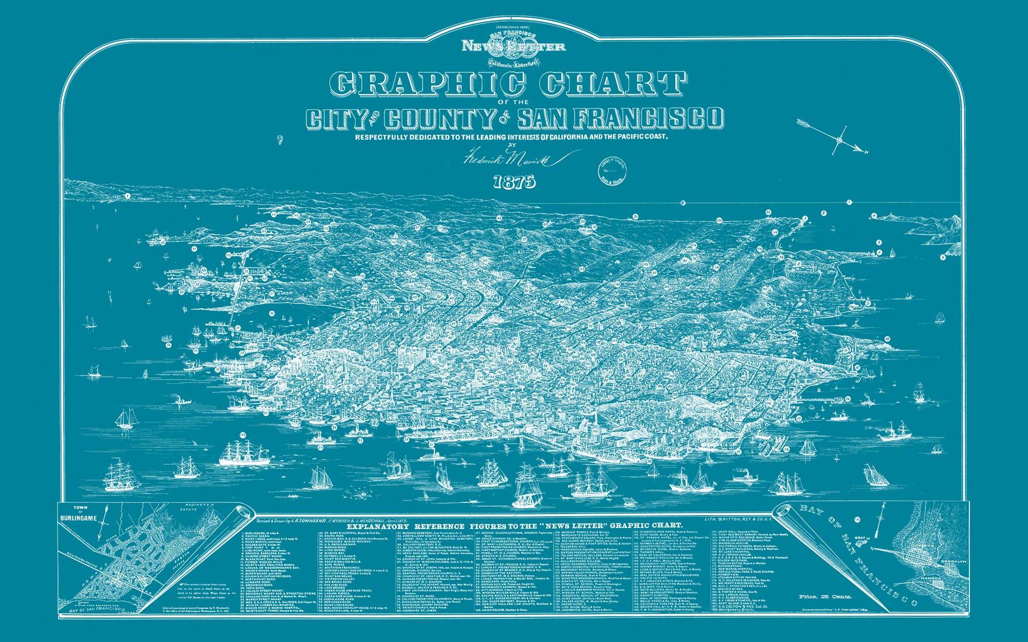 "San Francisco 1875 (teal canvas, 48"" x 30"")"