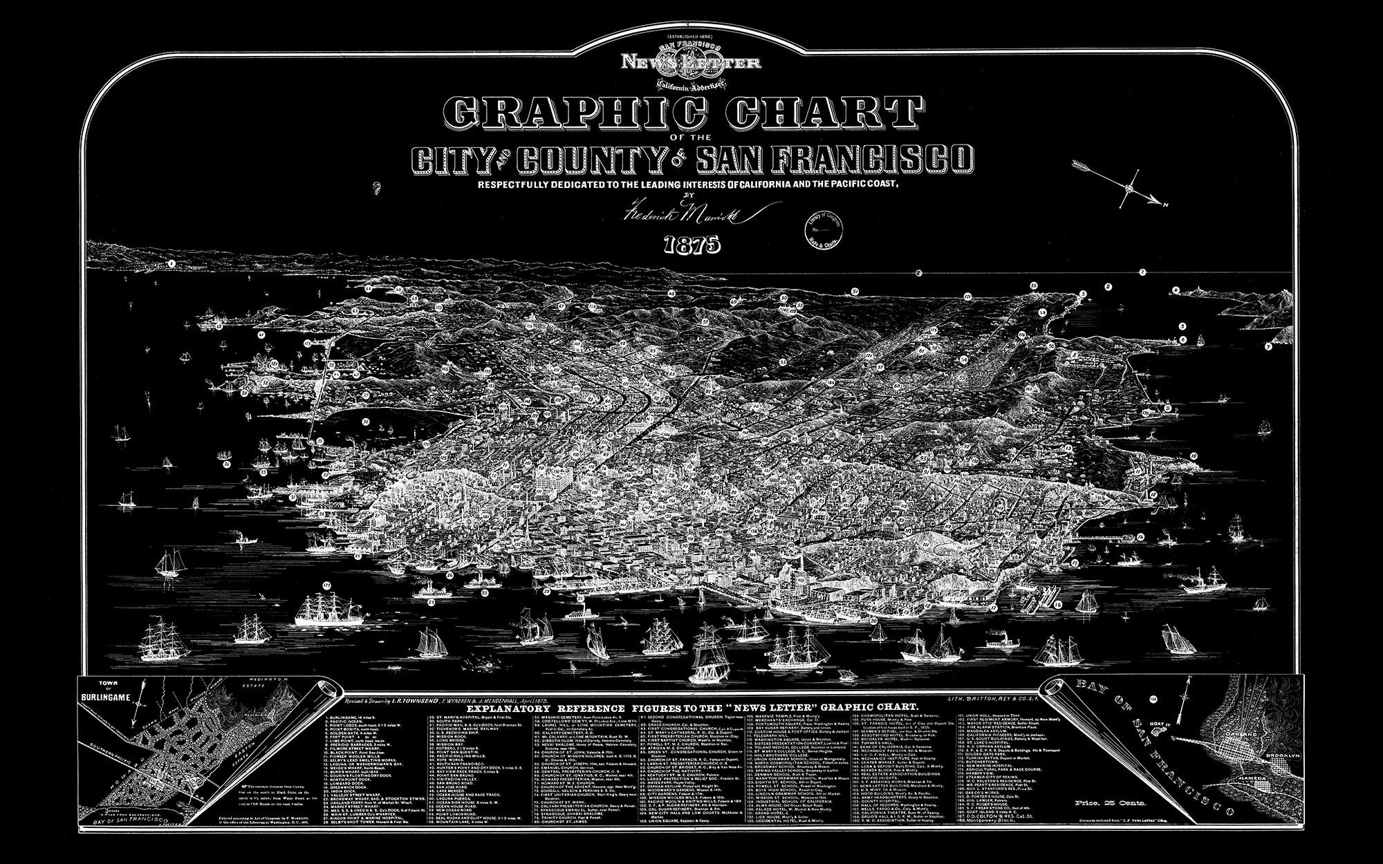 "San Francisco 1875 (black canvas, 48"" x 30"")"