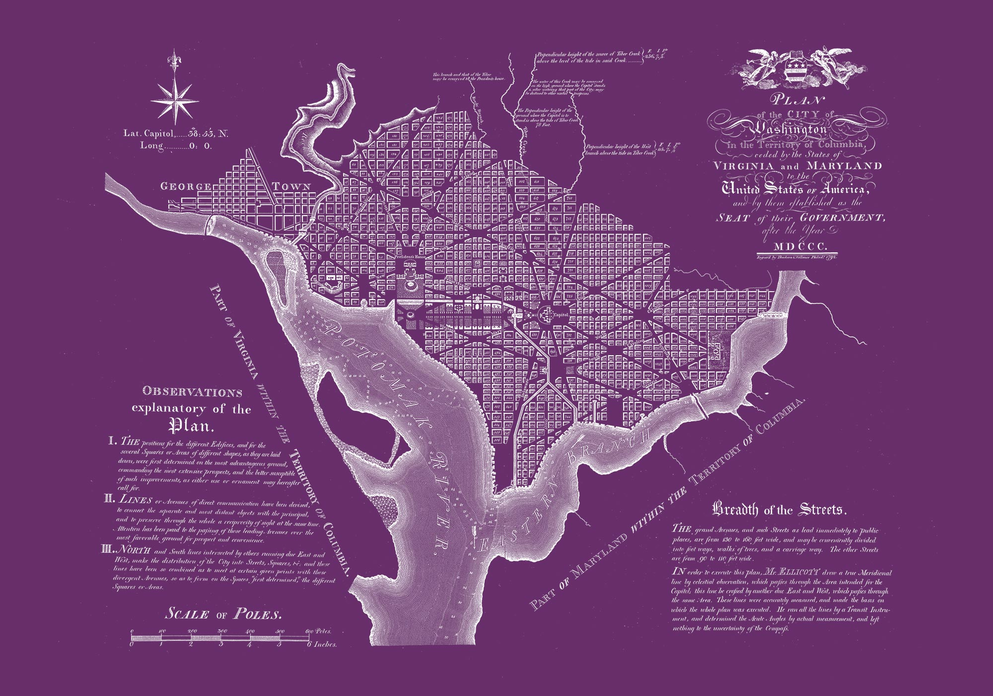 "Washington DC 1792 (purple canvas, 30"" x 21"")"