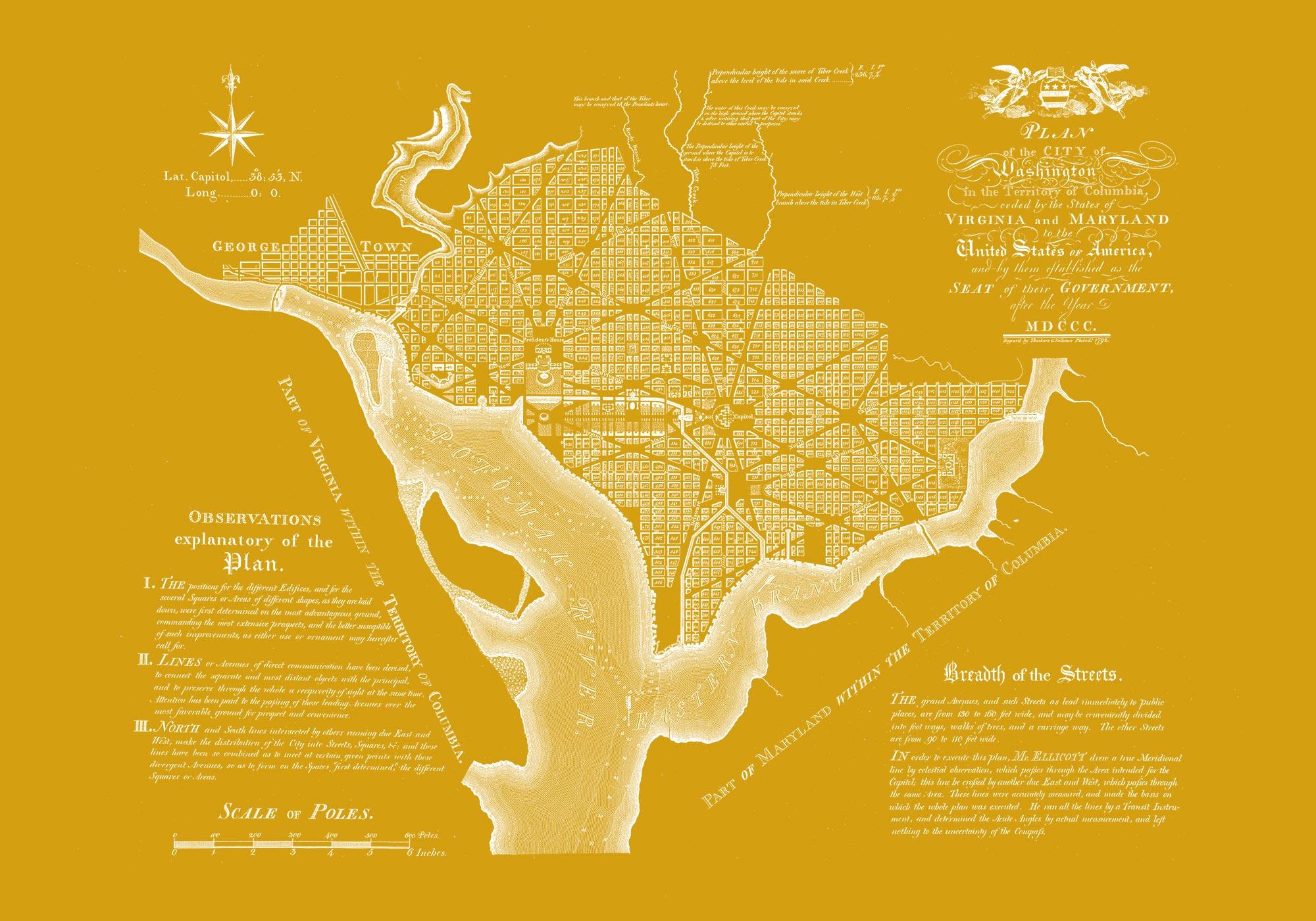 "Washington DC 1792 (yellow canvas, 30"" x 21"")"