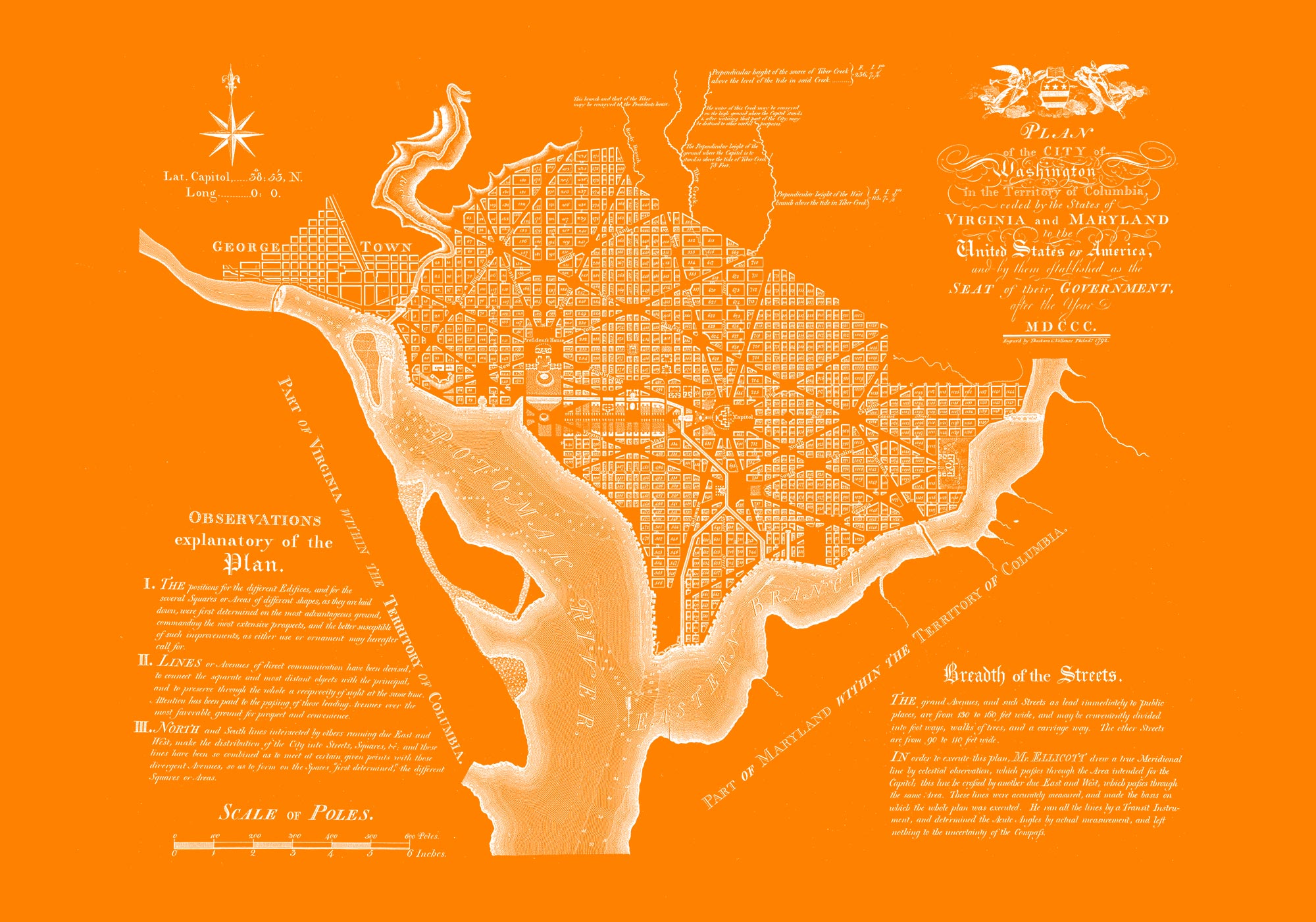"Washington DC 1792 (orange canvas, 30"" x 21"")"