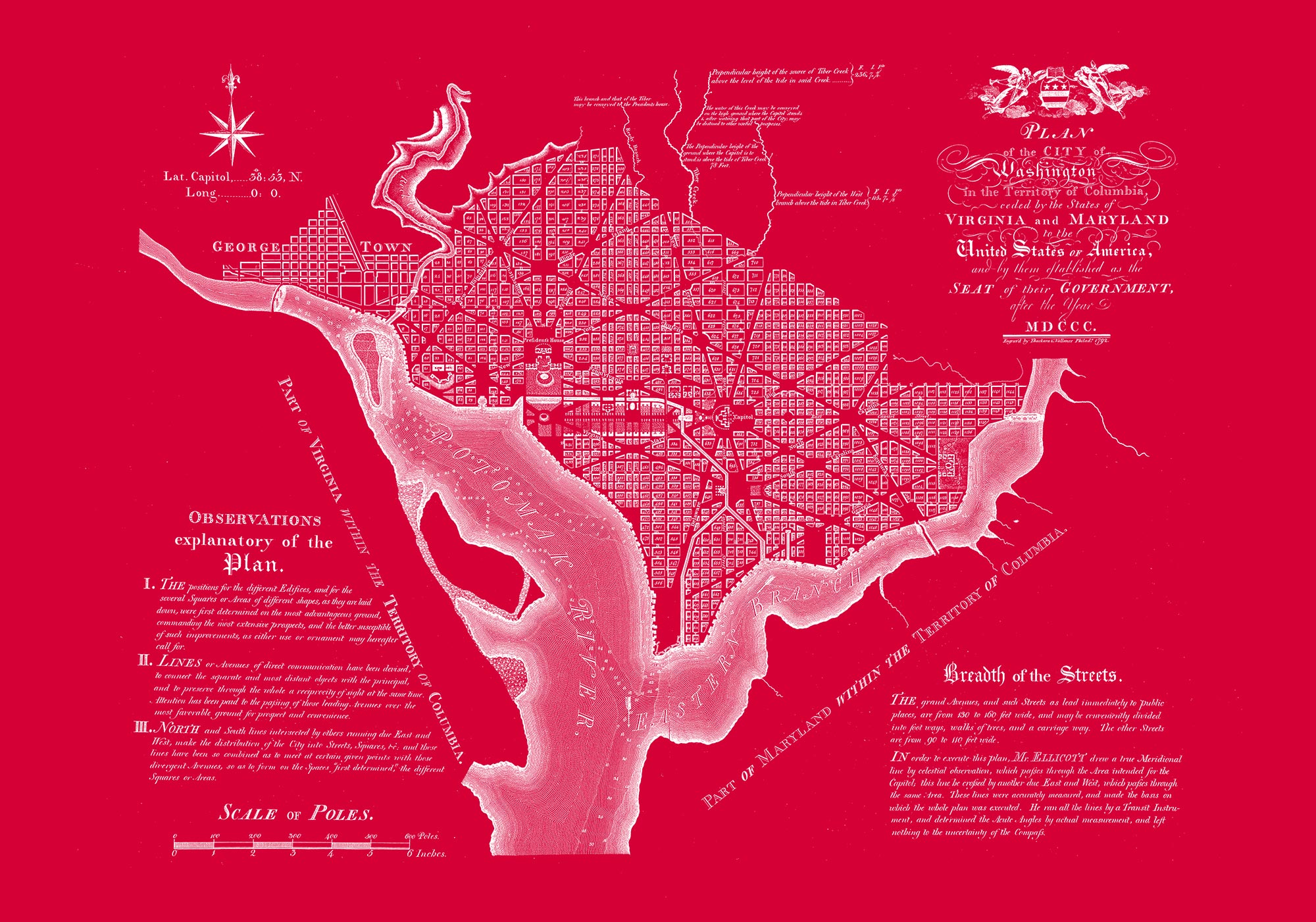 "Washington DC 1792 (red canvas, 30"" x 21"")"