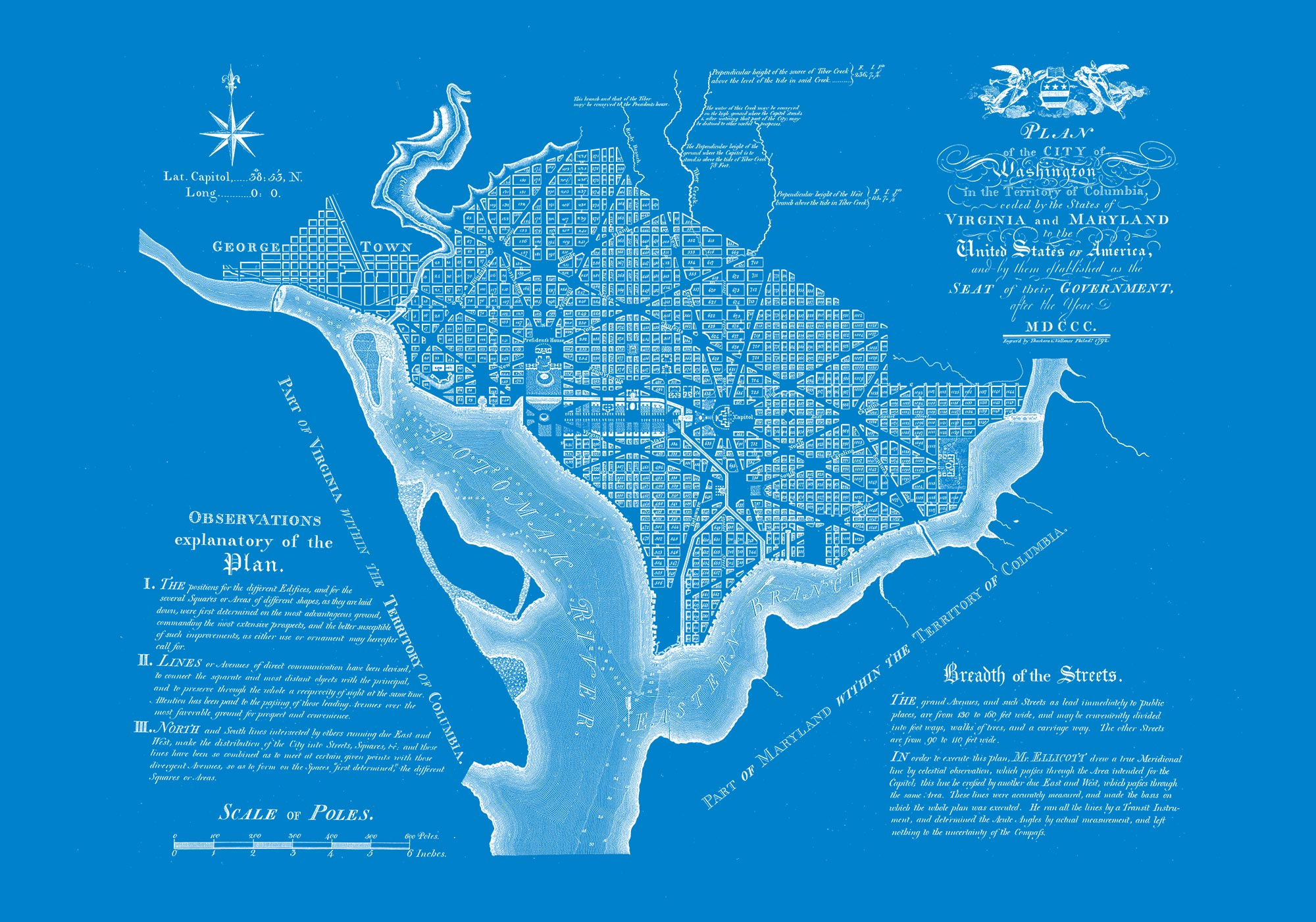 "Washington DC 1792 (blue canvas, 30"" x 21"")"