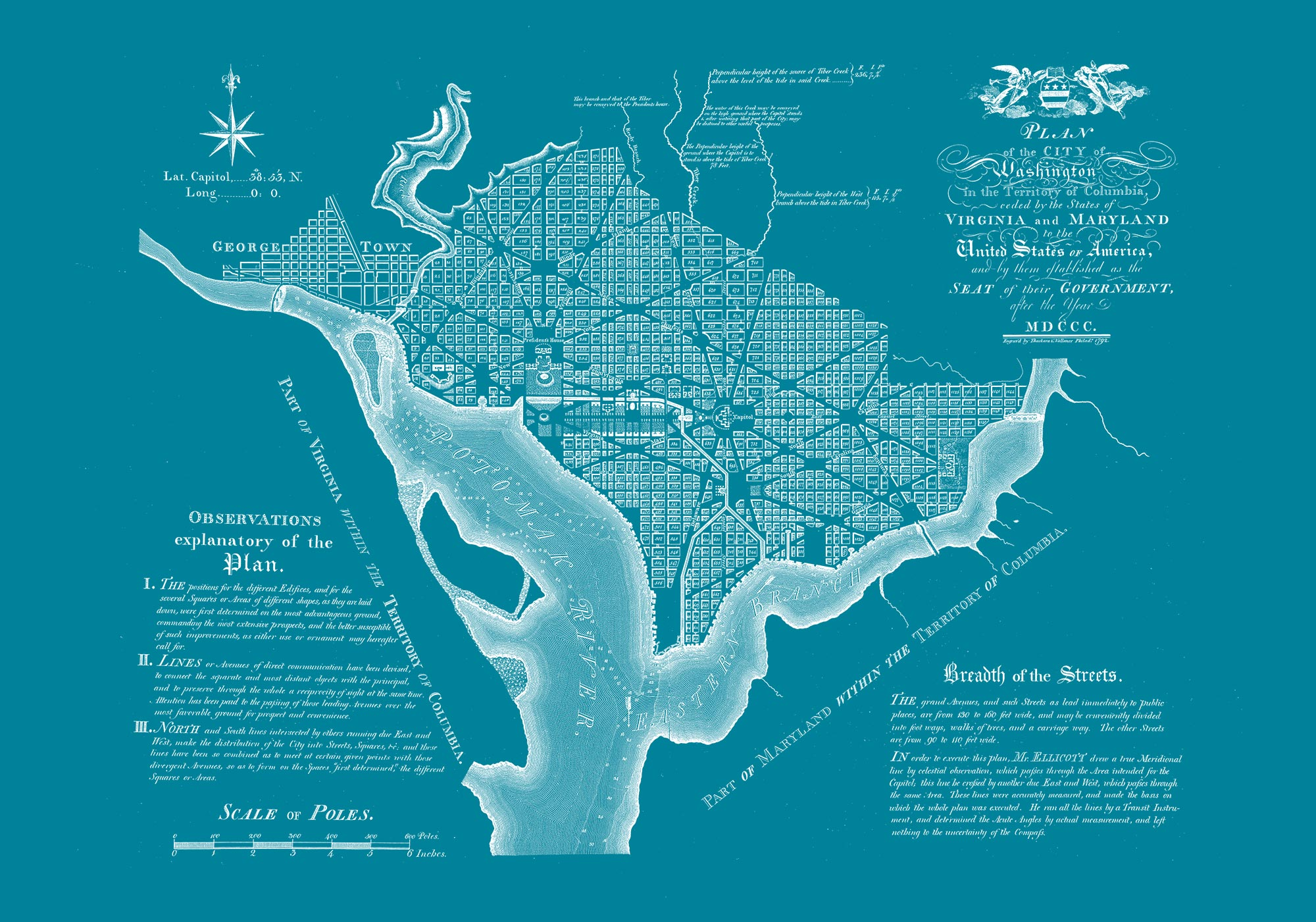 "Washington DC 1792 (teal canvas, 30"" x 21"")"