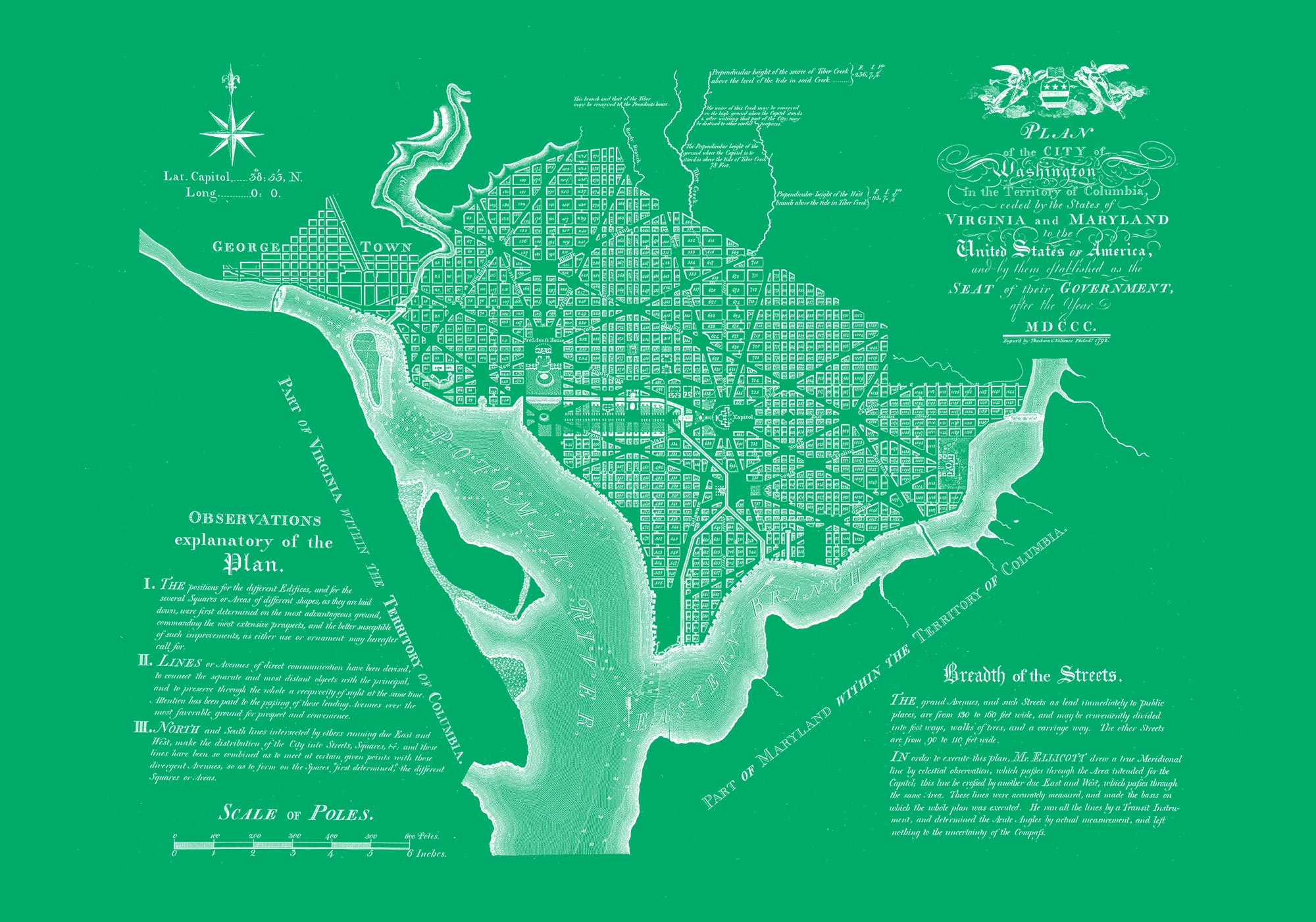"Washington DC 1792 (green canvas, 30"" x 21"")"
