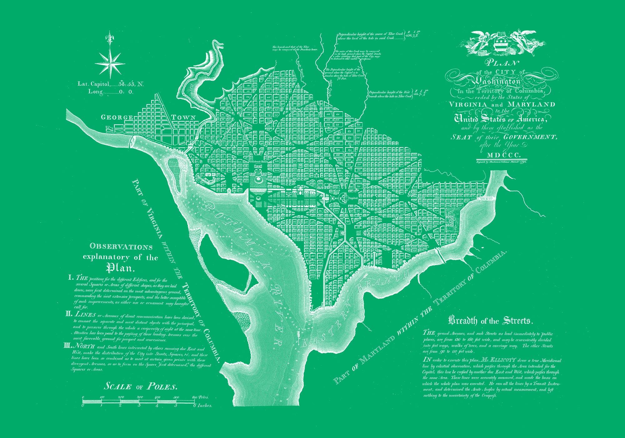 "Washington DC 1792 (green canvas, 30"" x 21"")"