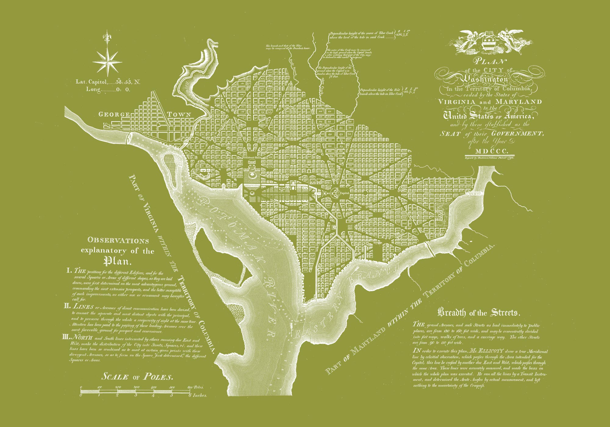 "Washington DC 1792 (olive green canvas, 30"" x 21"")"