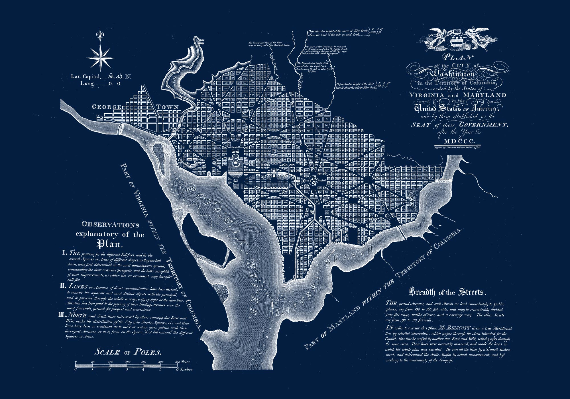"Washington DC 1792 (navy canvas, 30"" x 21"")"