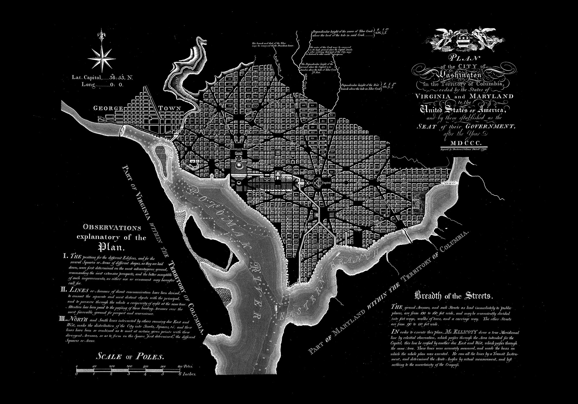 "Washington DC 1792 (black canvas, 30"" x 21"")"