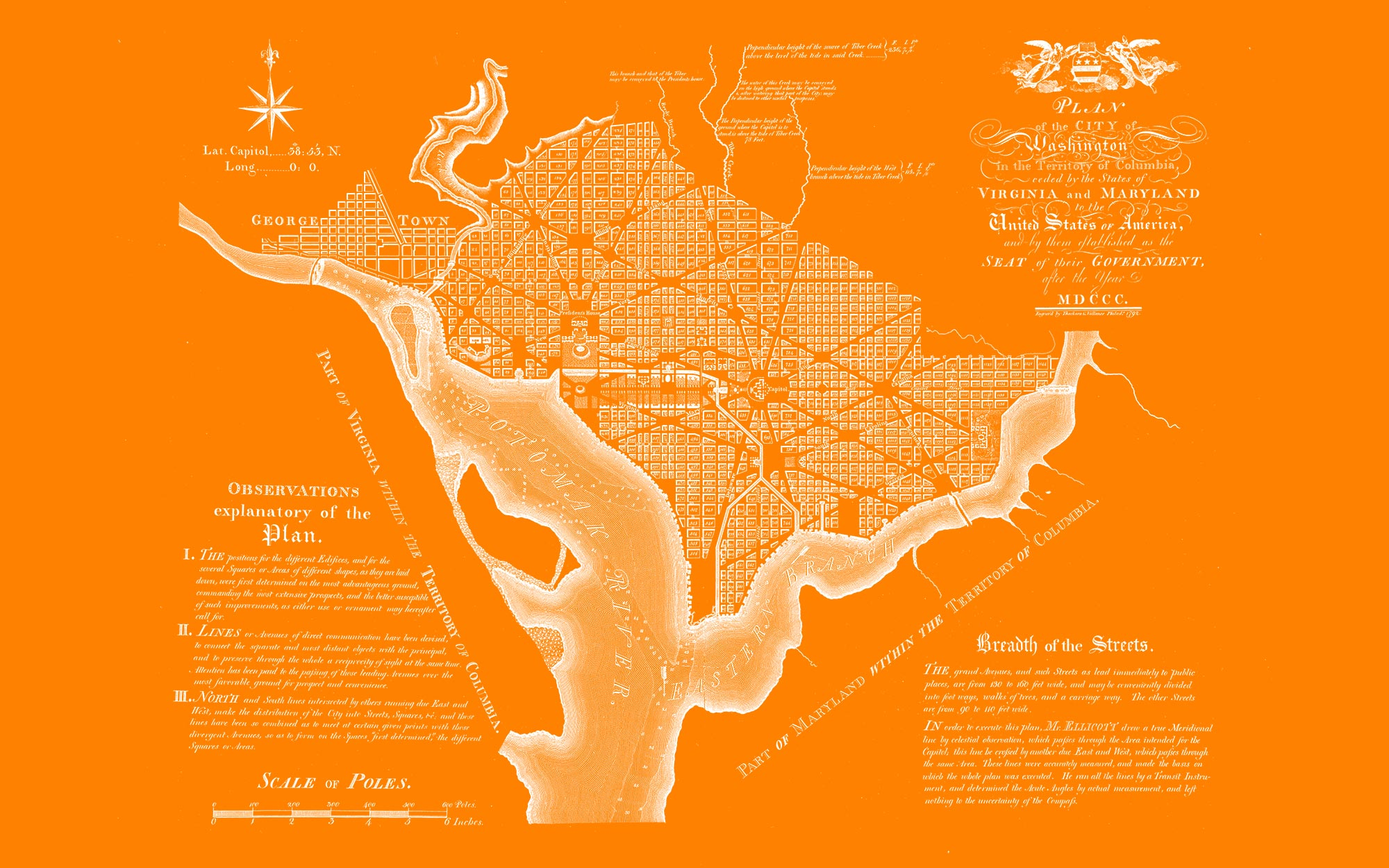 "Washington DC 1792 (orange canvas, 48"" x 30"")"