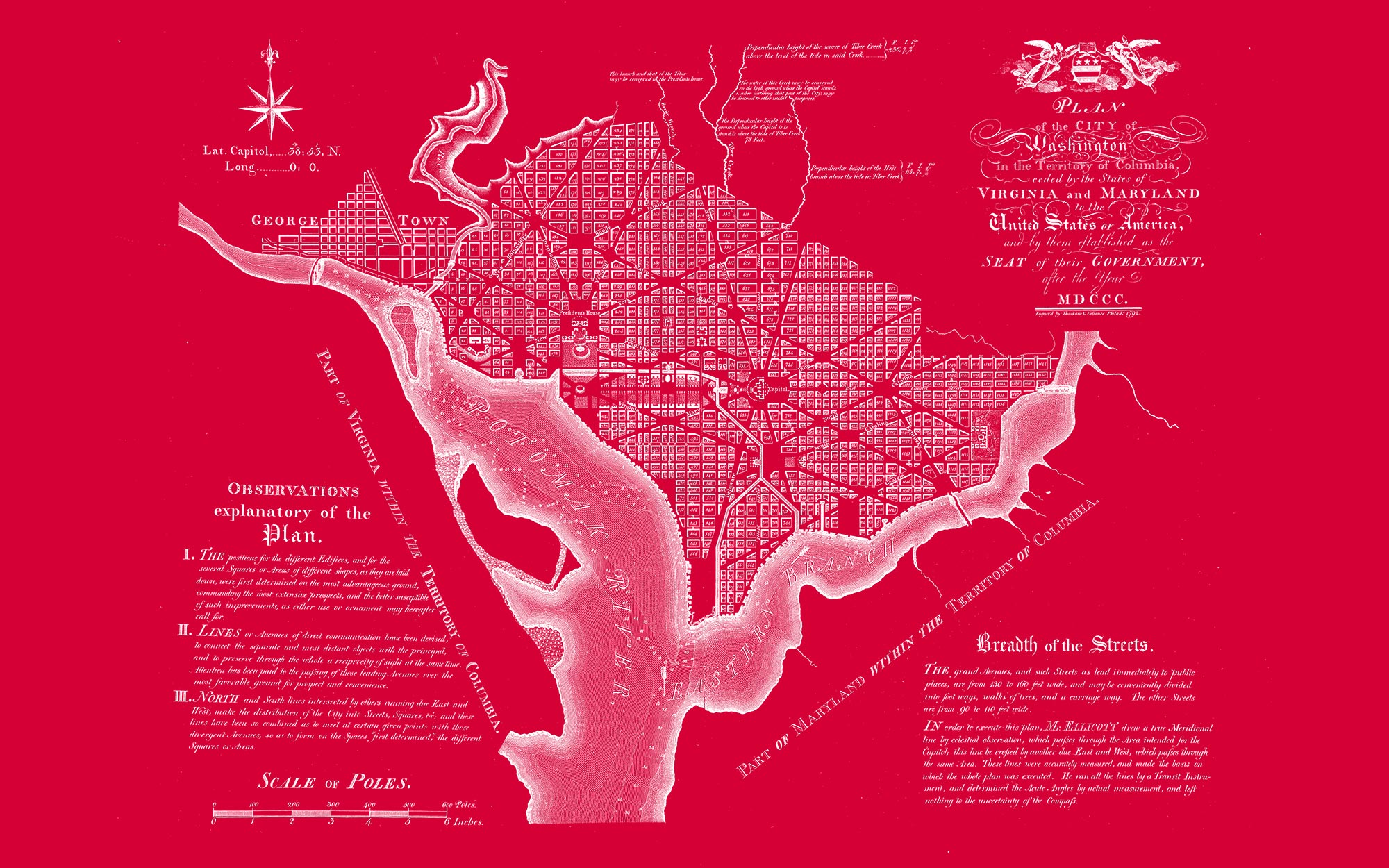 "Washington DC 1792 (red canvas, 48"" x 30"")"