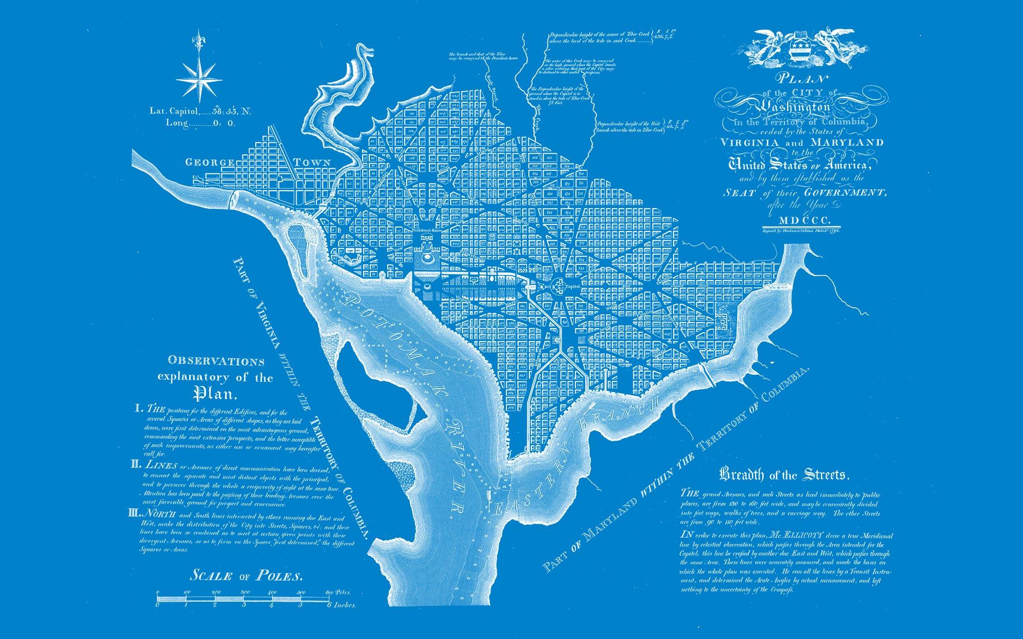 "Washington DC 1792 (blue canvas, 48"" x 30"")"
