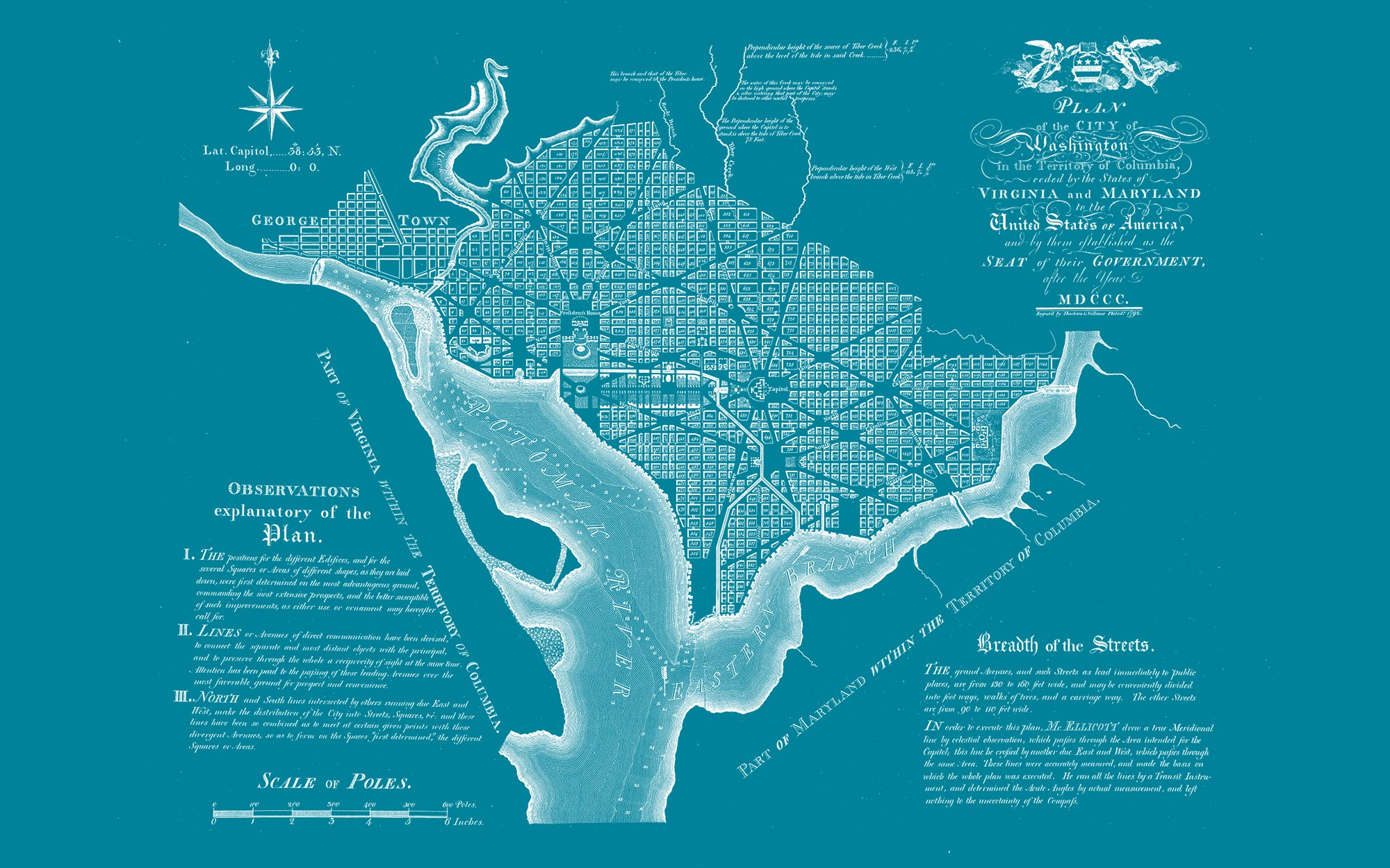 "Washington DC 1792 (teal canvas, 48"" x 30"")"