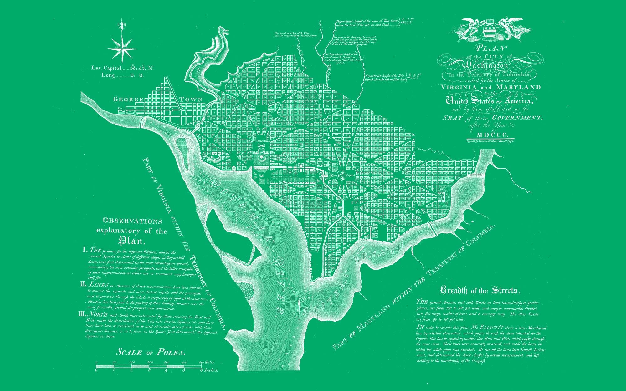 "Washington DC 1792 (green canvas, 48"" x 30"")"