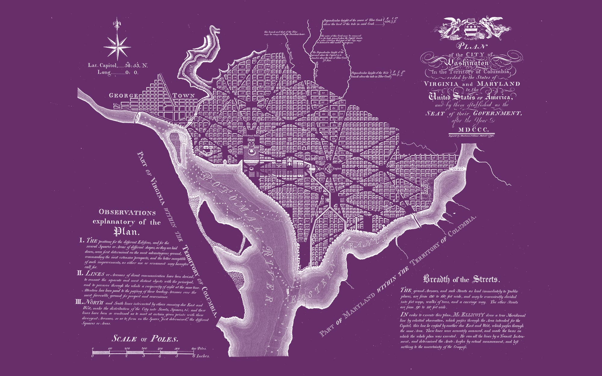 "Washington DC 1792 (purple canvas, 48"" x 30"")"