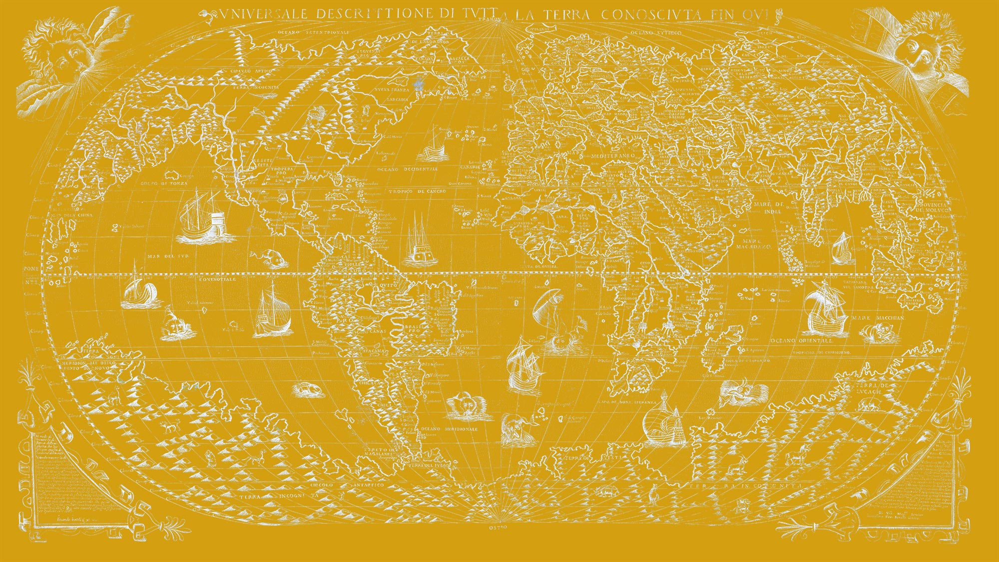 "The Known World 1565 (yellow canvas, 64"" x 36"")"