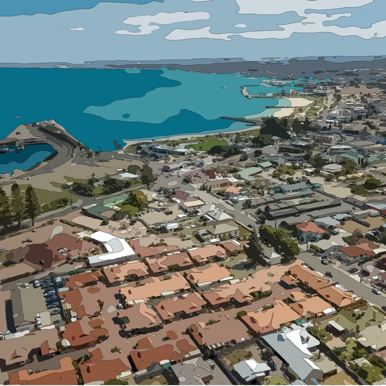 aerial view of Harbour pines close proximity to Geraldton foreshore