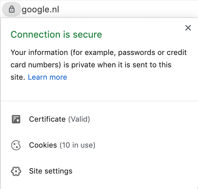 Screenshot of Google notification regarding a secure connection