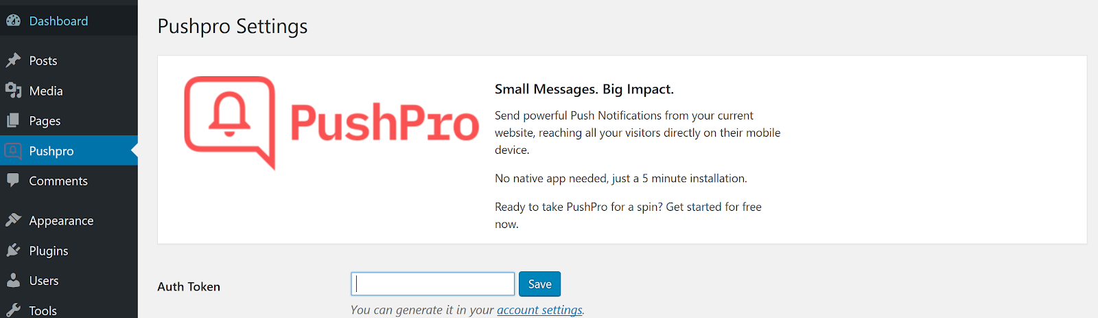 Screenshot of PushPro installation within the WordPress dashboard