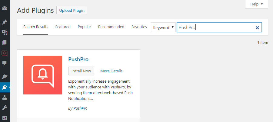 Screenshot of the PushPro plugin within the WordPress CMS