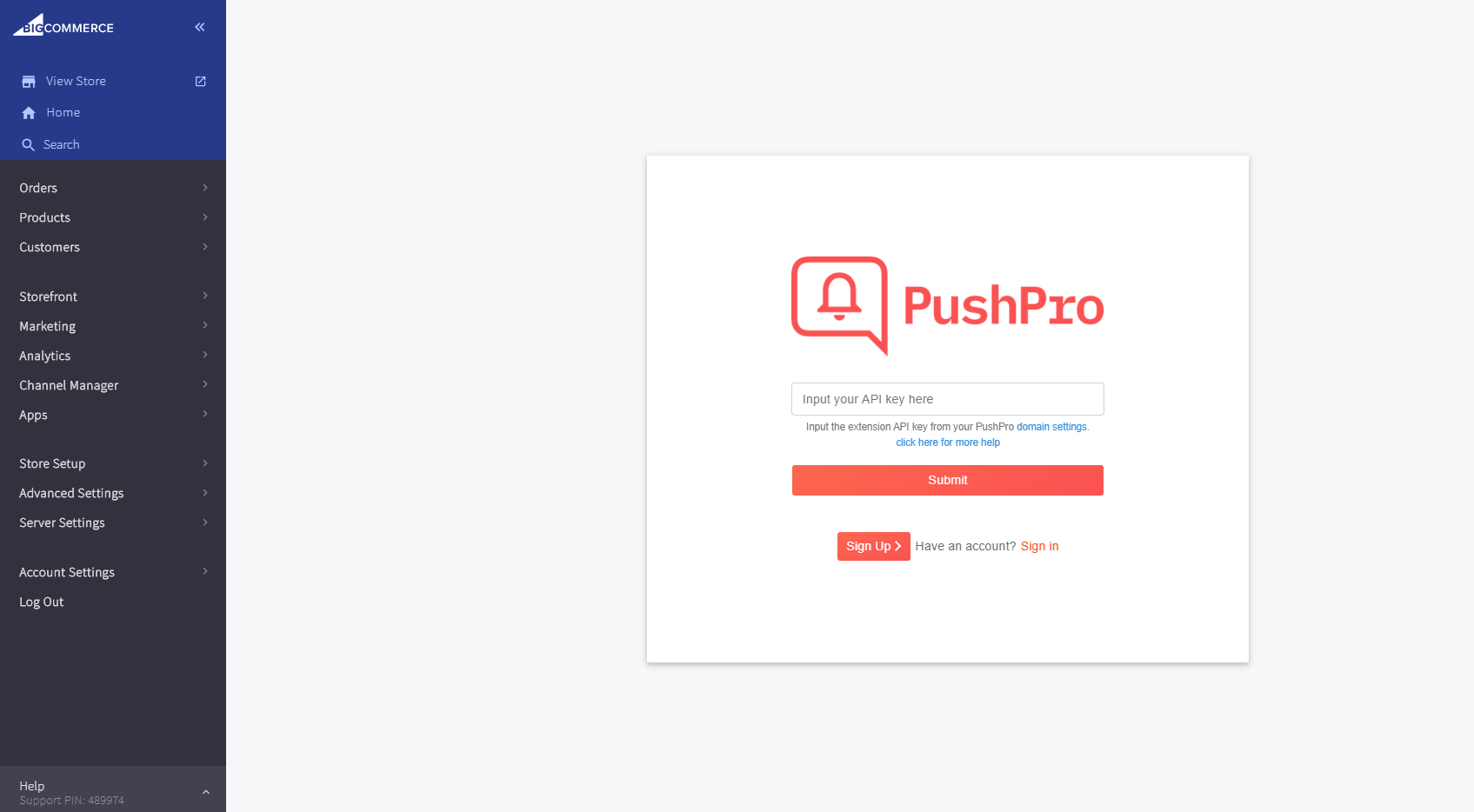 Screenshot showing the installation of the PushPro plugin in the BigCommerce dashboard