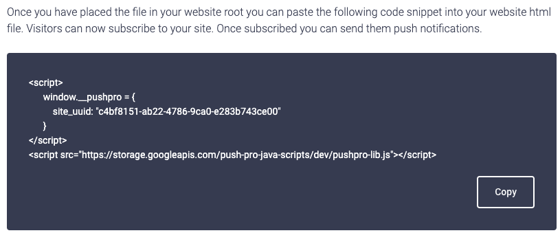 Screenshot of the code snippet to install PushPro